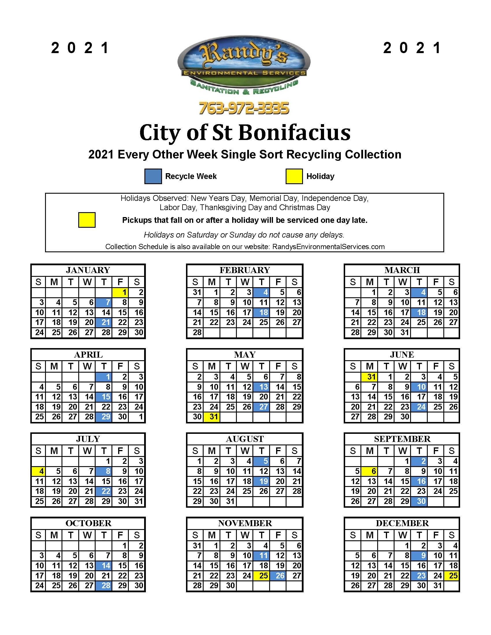 2021 Recycling Garbage Schedule - Announcements - St