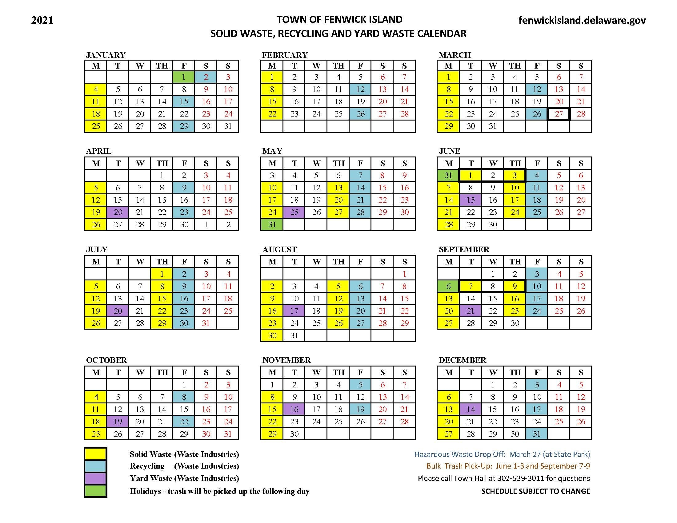 2021 Solid Waste, Recycling And Yard Waste Calendar
