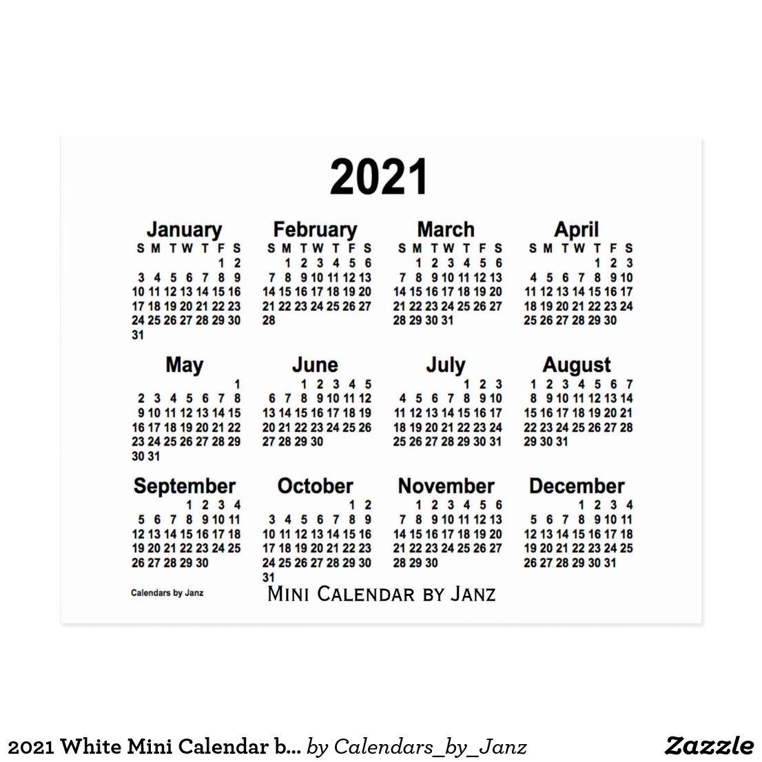 2021 White Mini Calendar By Janz Postcard | Zazzle