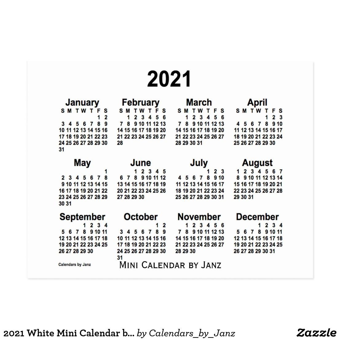 2021 White Mini Calendar By Janz Postcard | Zazzle