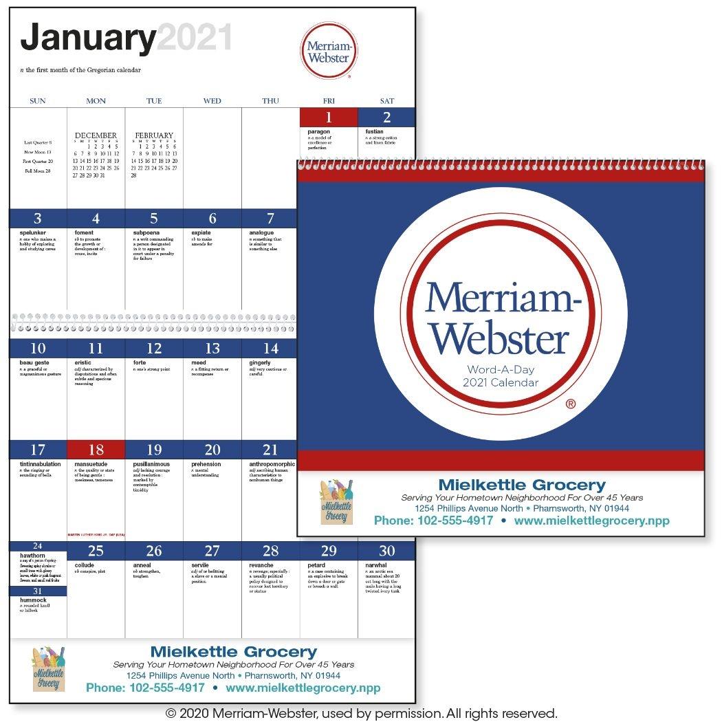 2021 Word-A-Day By Merriam-Webster 13 Month Wall Calendar