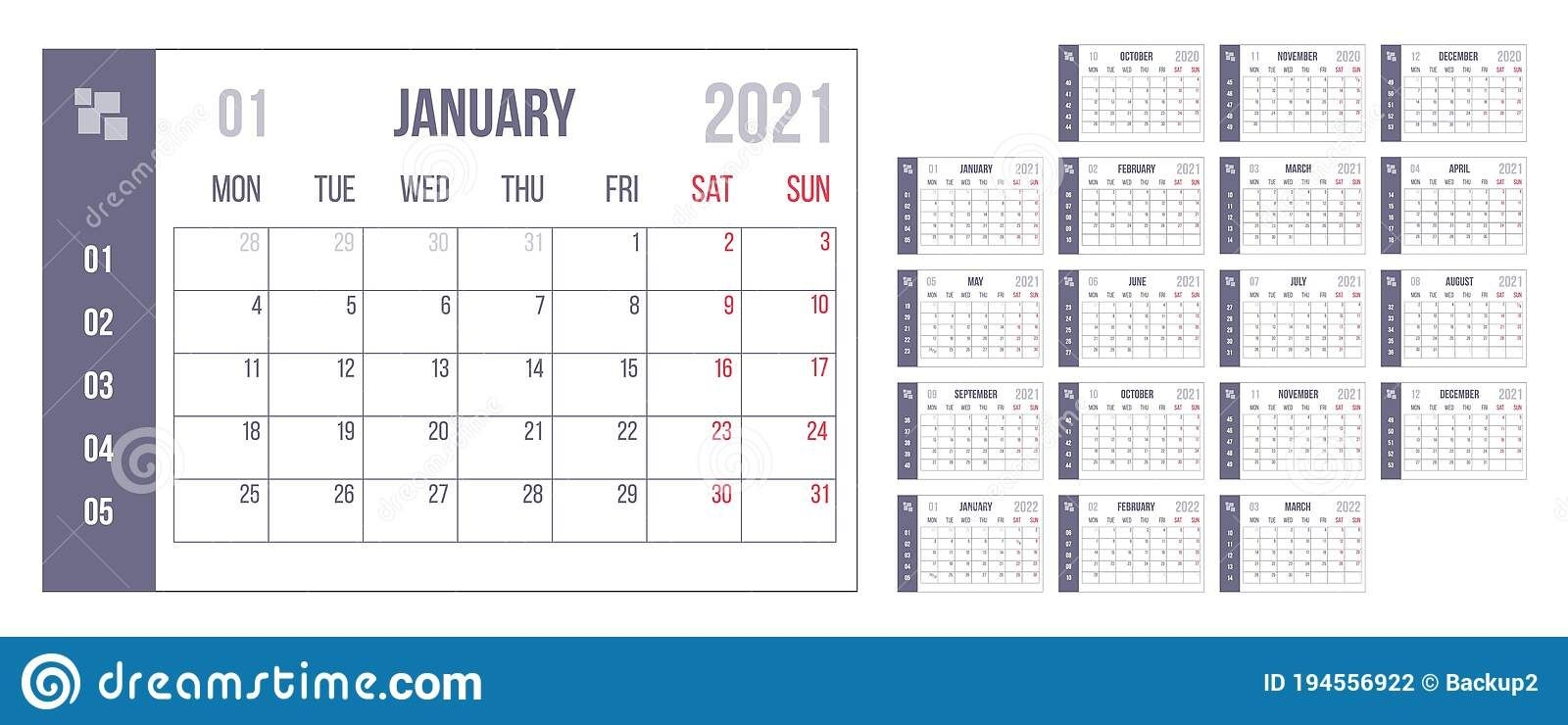 2021 Year Blue Calendar. Month Countdown Page Set. Day, Week