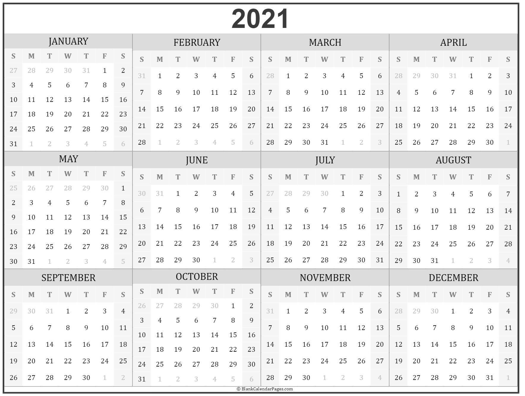 2021 Year Calendar In 2020 | Printable Calendar Design