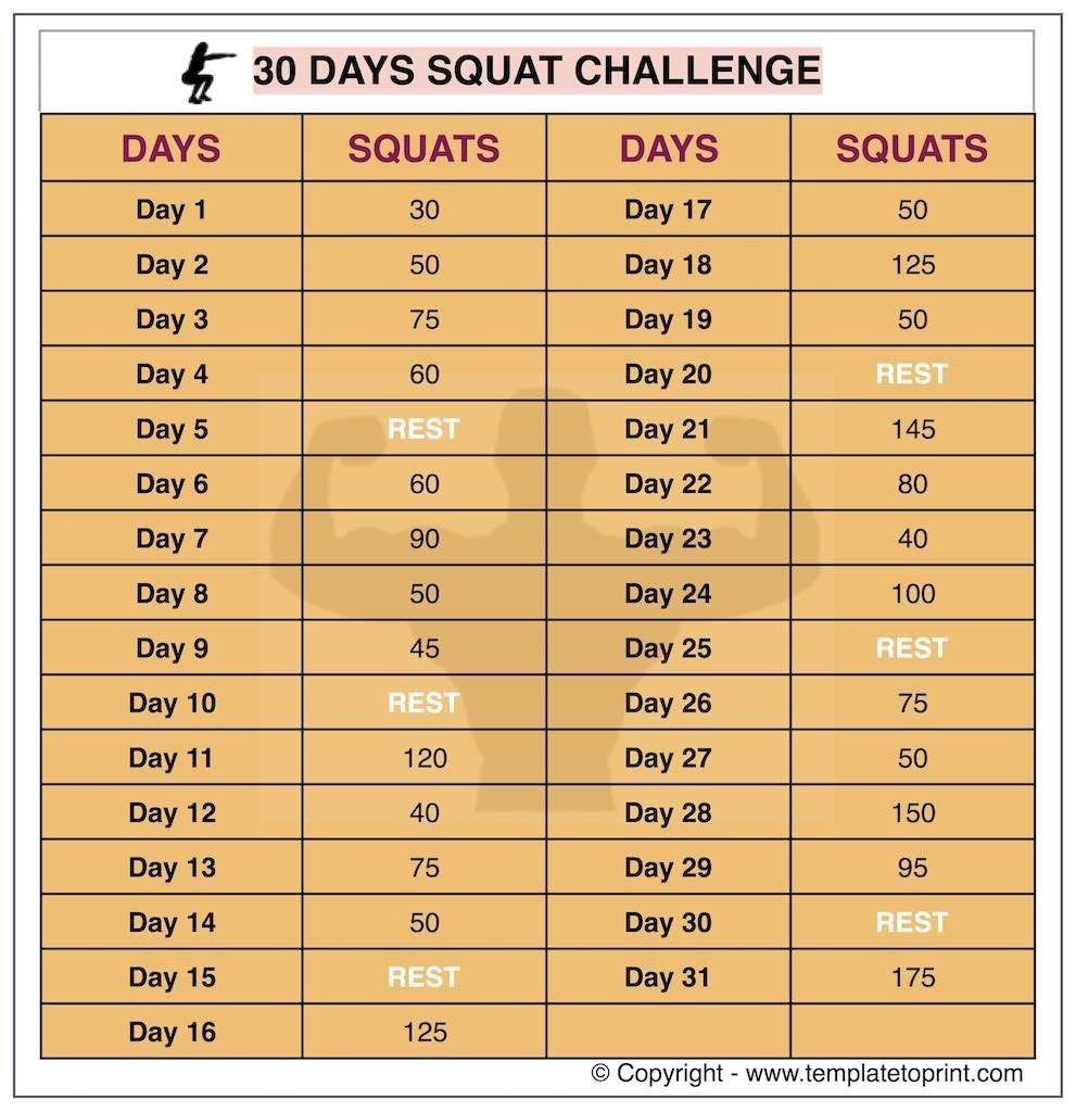 30 Day Squat Challenge Archives » Template To Print