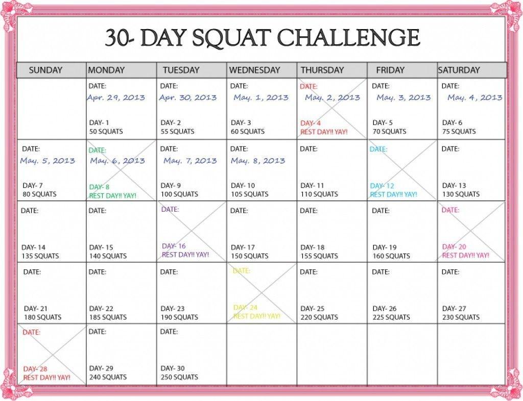 30 Day Squat Challenge Calendar Printable Online Squat