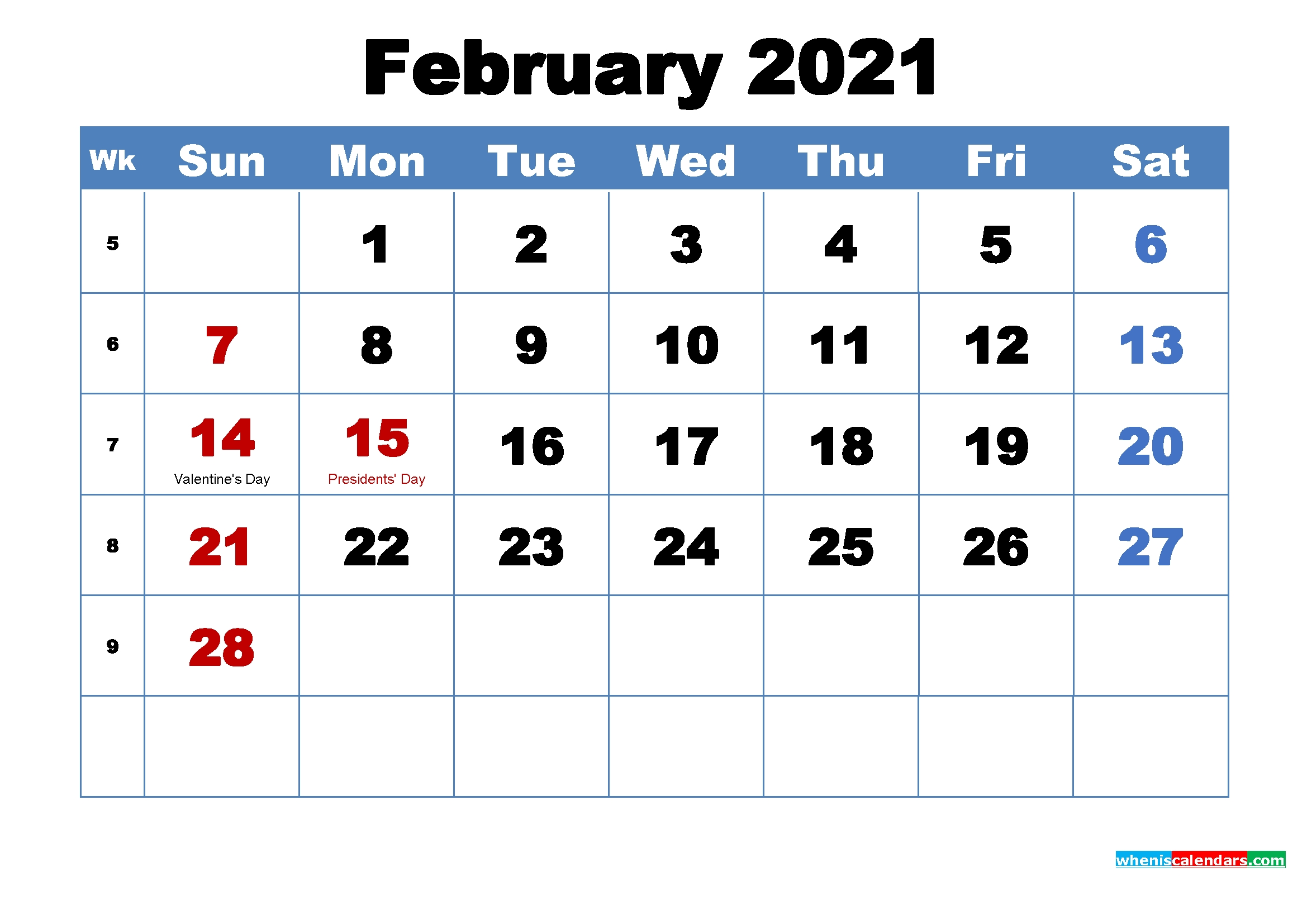 30 Free February 2021 Calendars For Home Or Office - Onedesblog