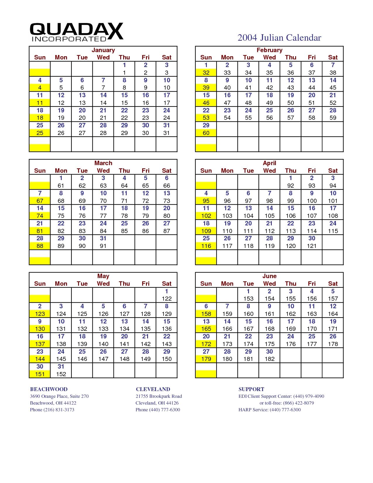 4 Best Julian Date Calendar 2016 Printable - Printablee