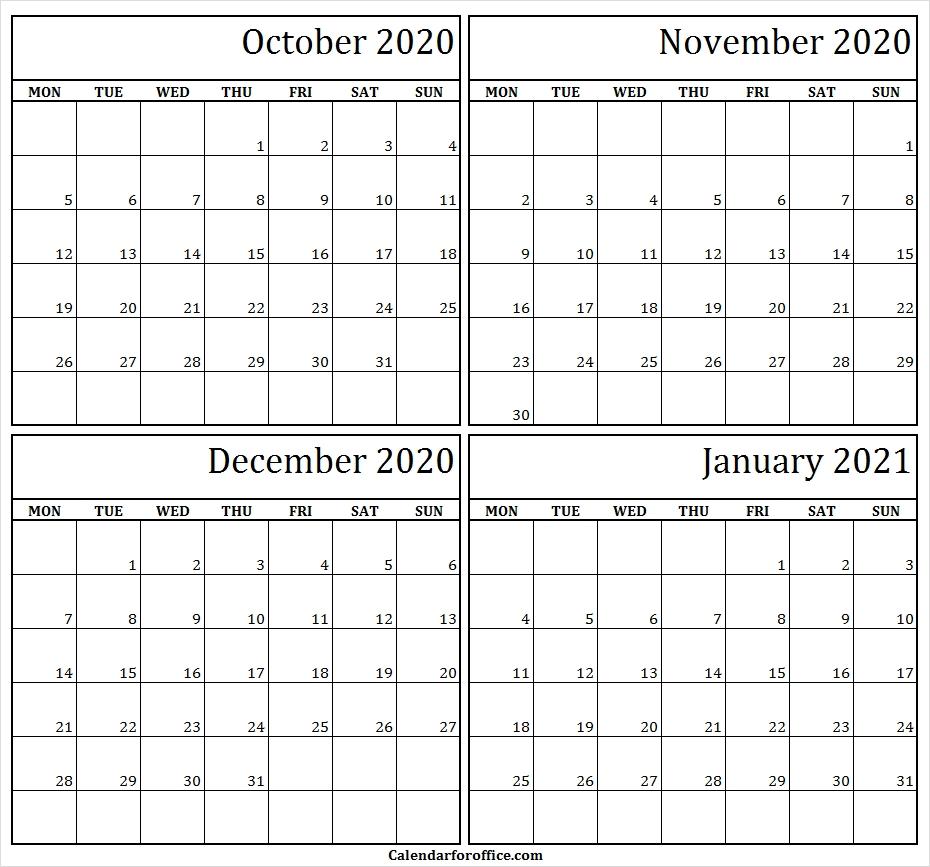 4 Month Calendar October November December 2020 January 2021
