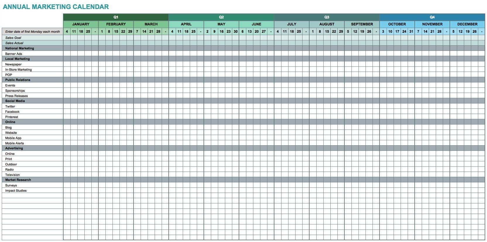 7 Free Excel Templates For Marketers - Entreresource