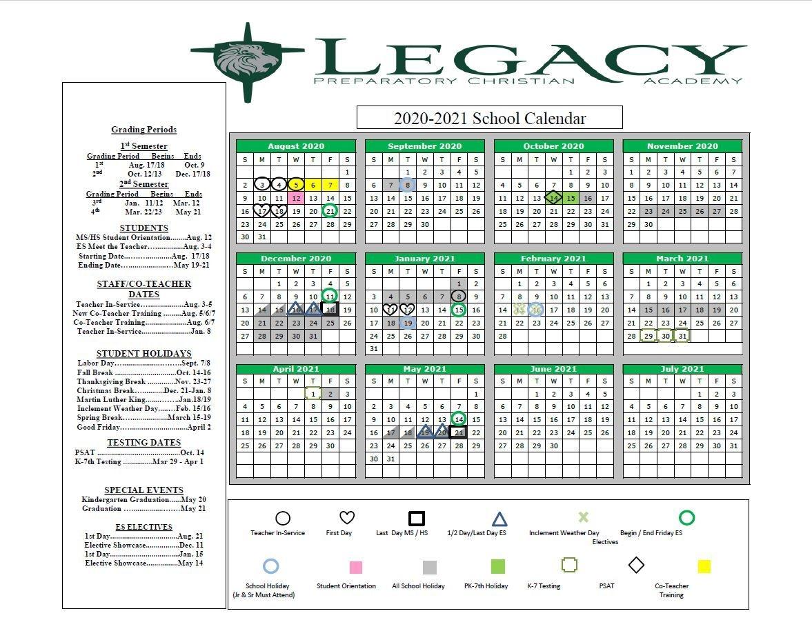 Academic Calendar - Legacy Preparatory Christian Academy