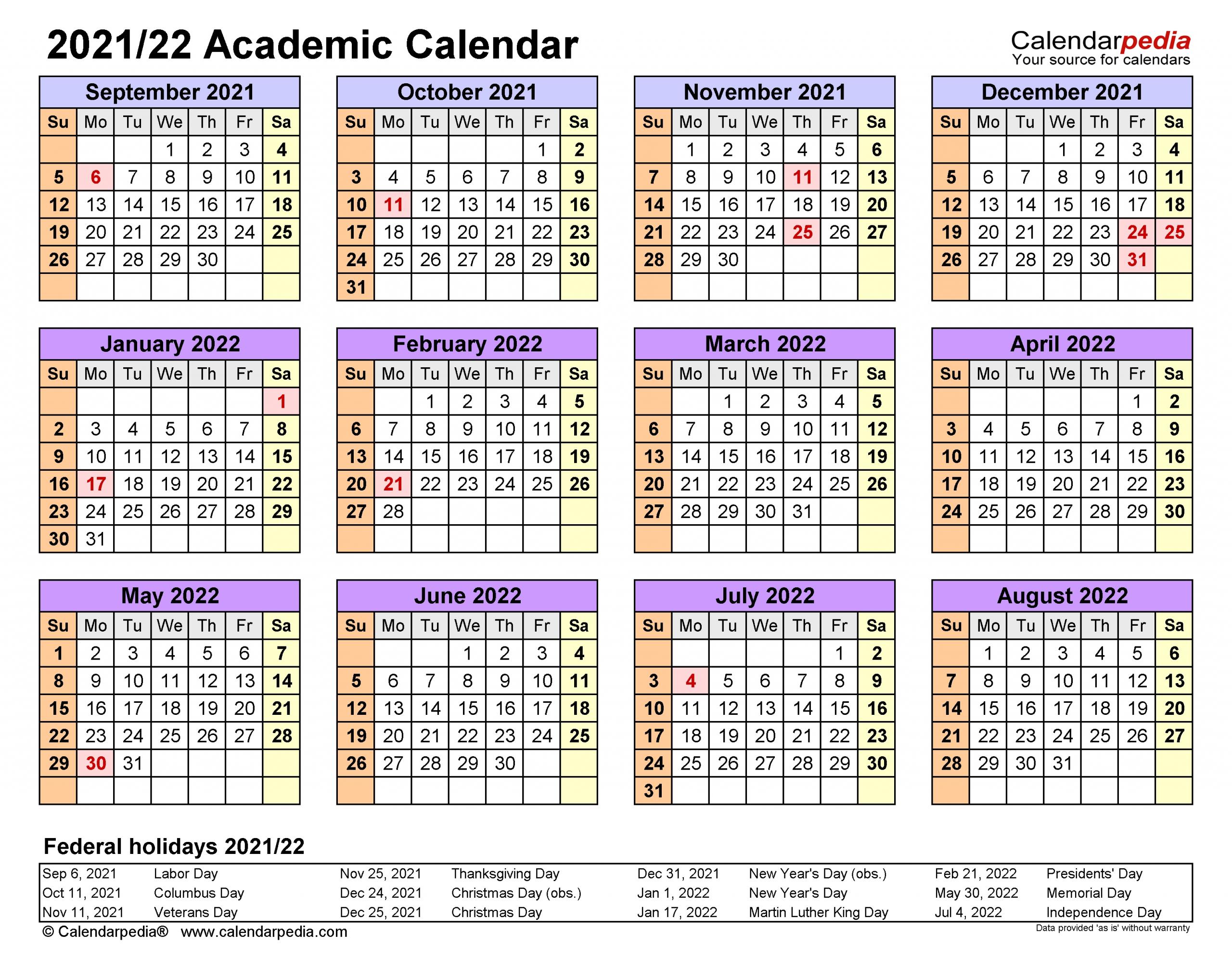Academic Calendars 2021/2022 - Free Printable Word Templates