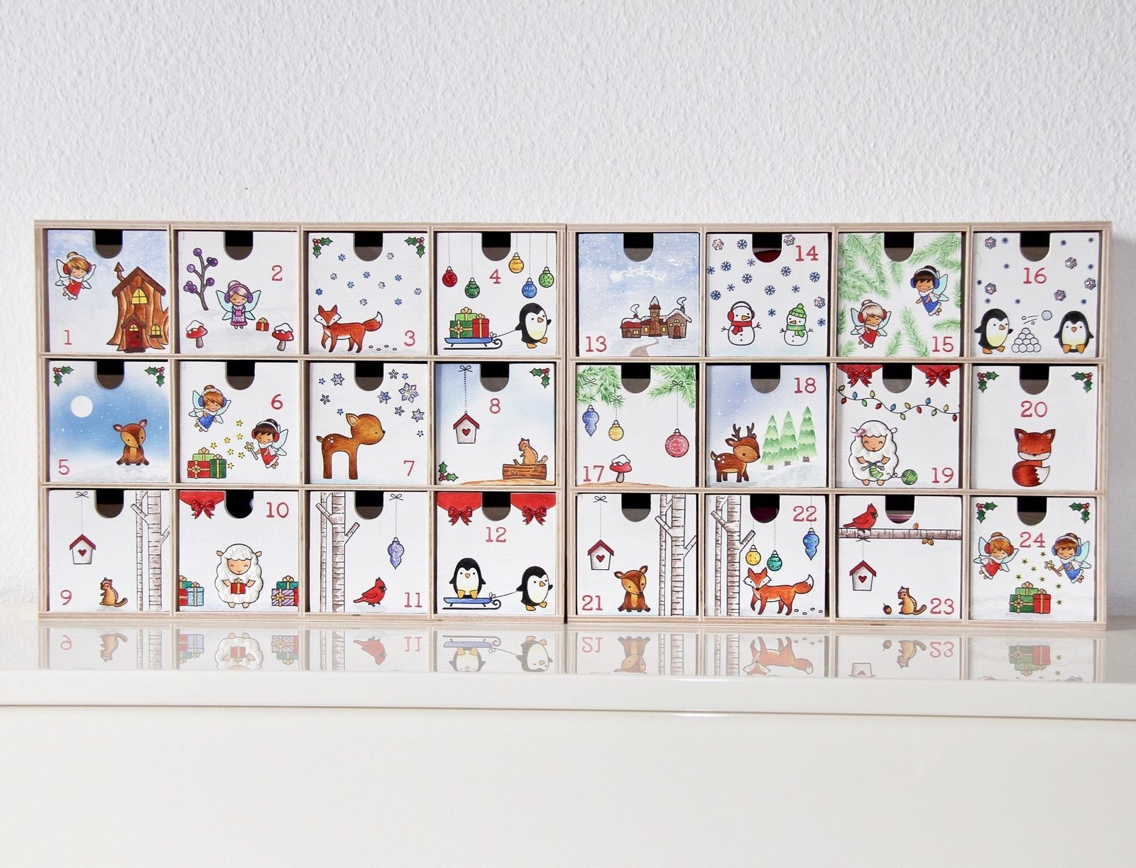 Advent Calendar With Ikea Moppe Shelfs/Drawers, Painted With