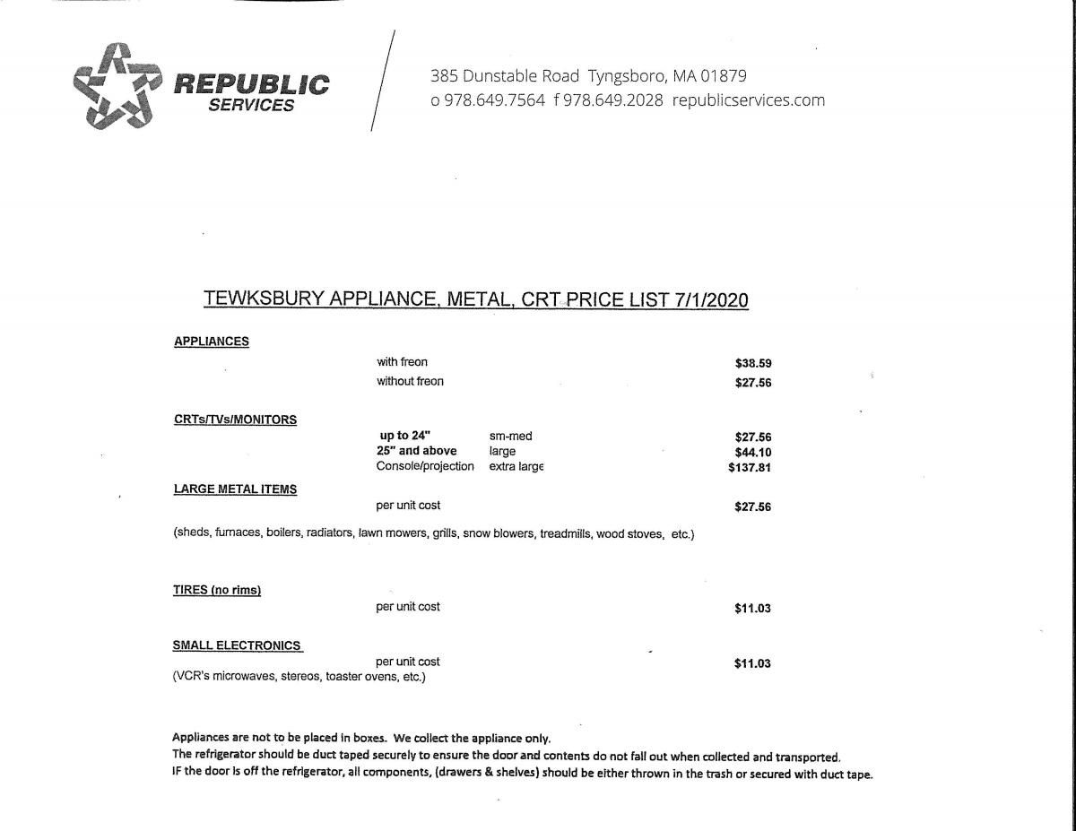 Appliance, Electronic, And Furniture Pickup Price List