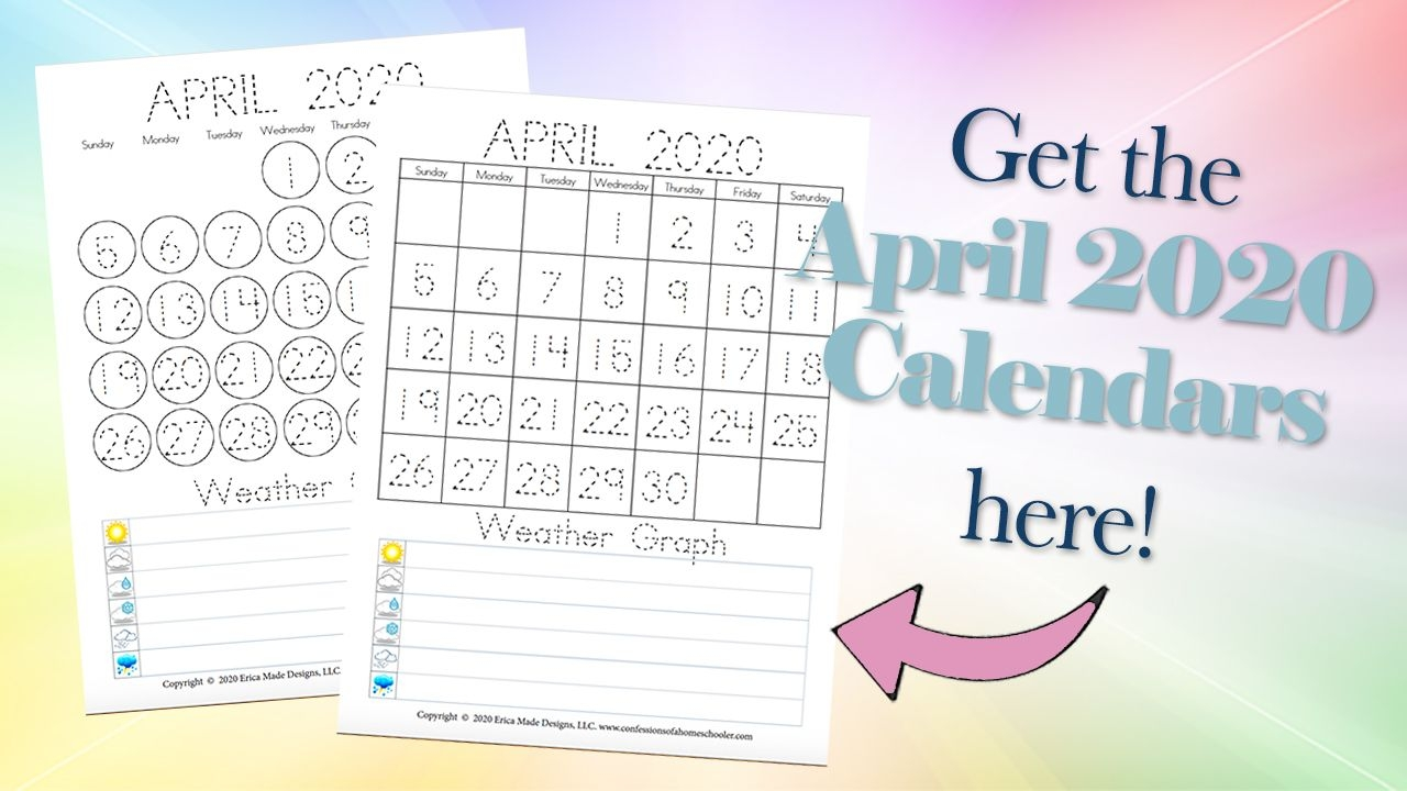 April 2020 Free Printable Calendars - Confessions Of A