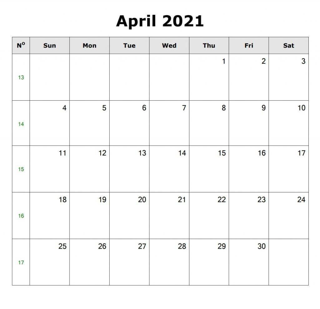April 2021 Blank Calendar In 2020 | Blank Calendar, Calendar