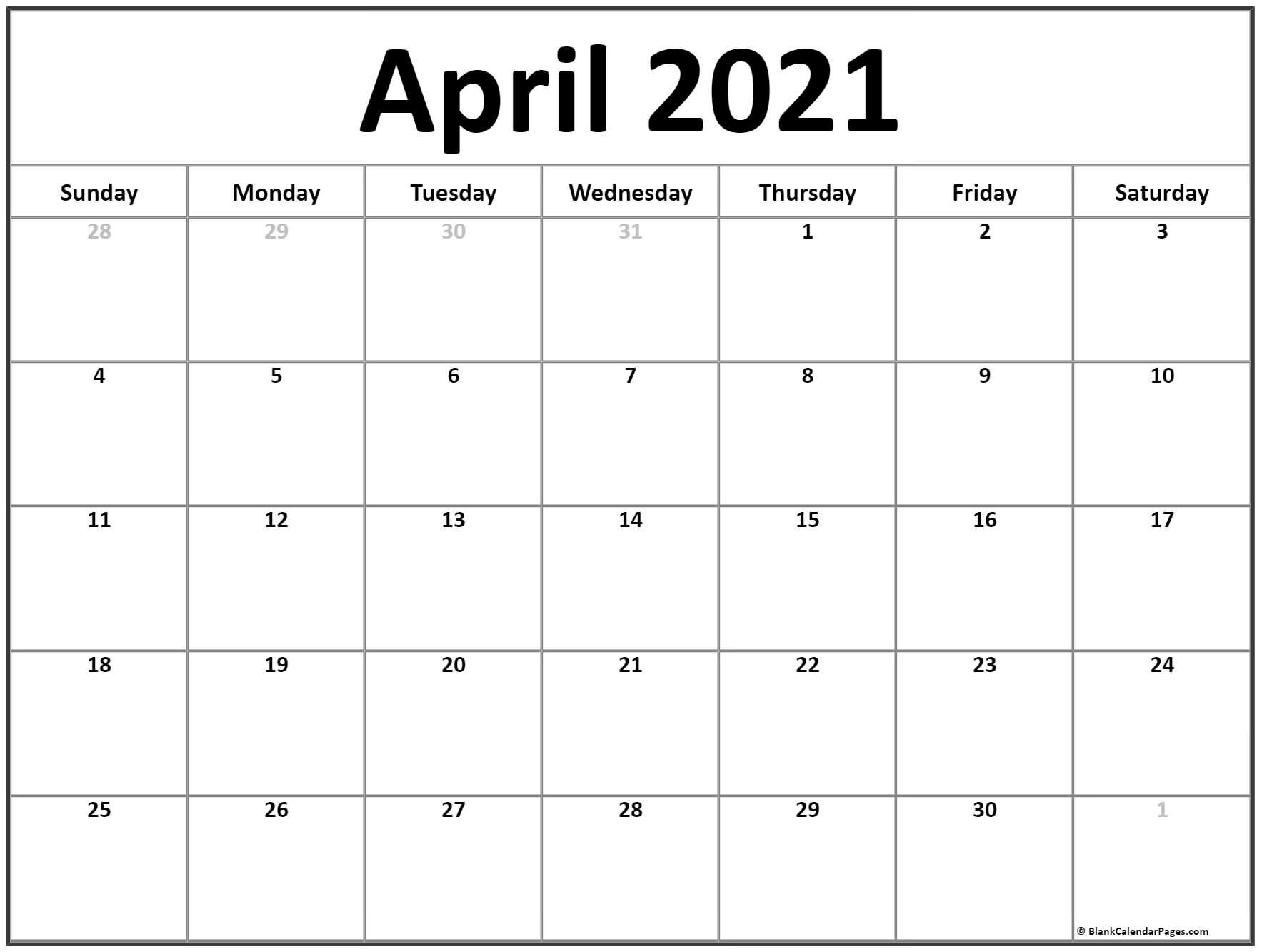 Free Blank April Map 2021 Iwith Lines | Get Your Calendar ...