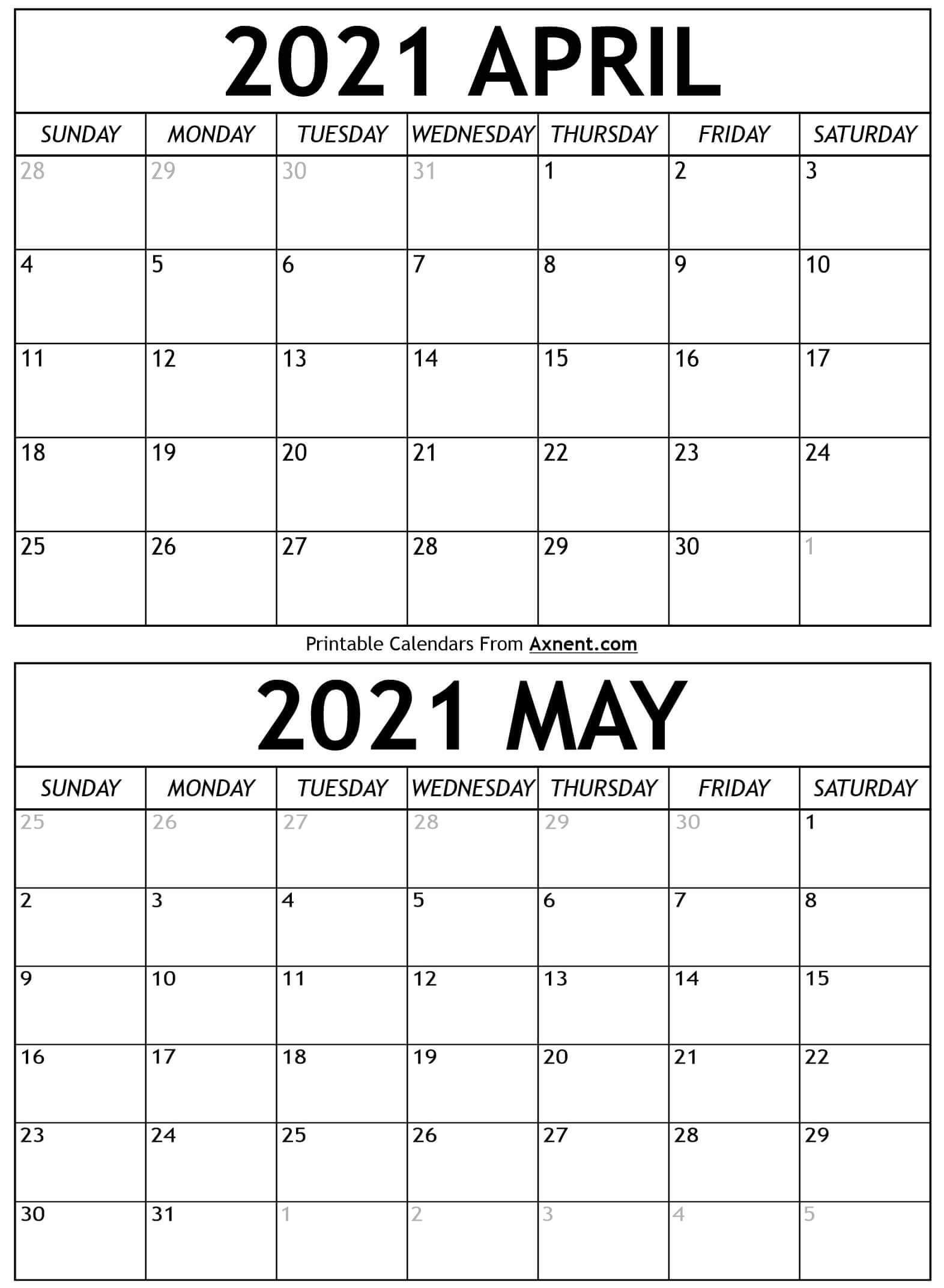April May 2021 Calendar Templates - Time Management Tools