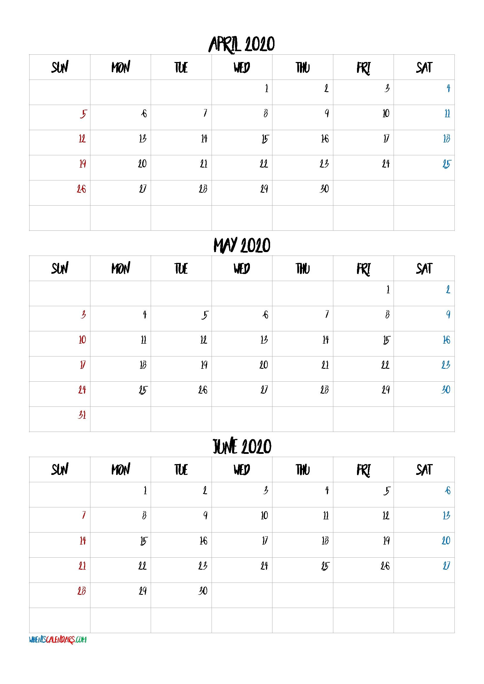 April May June 2021 Three Month Calendar Printable-21Bb4