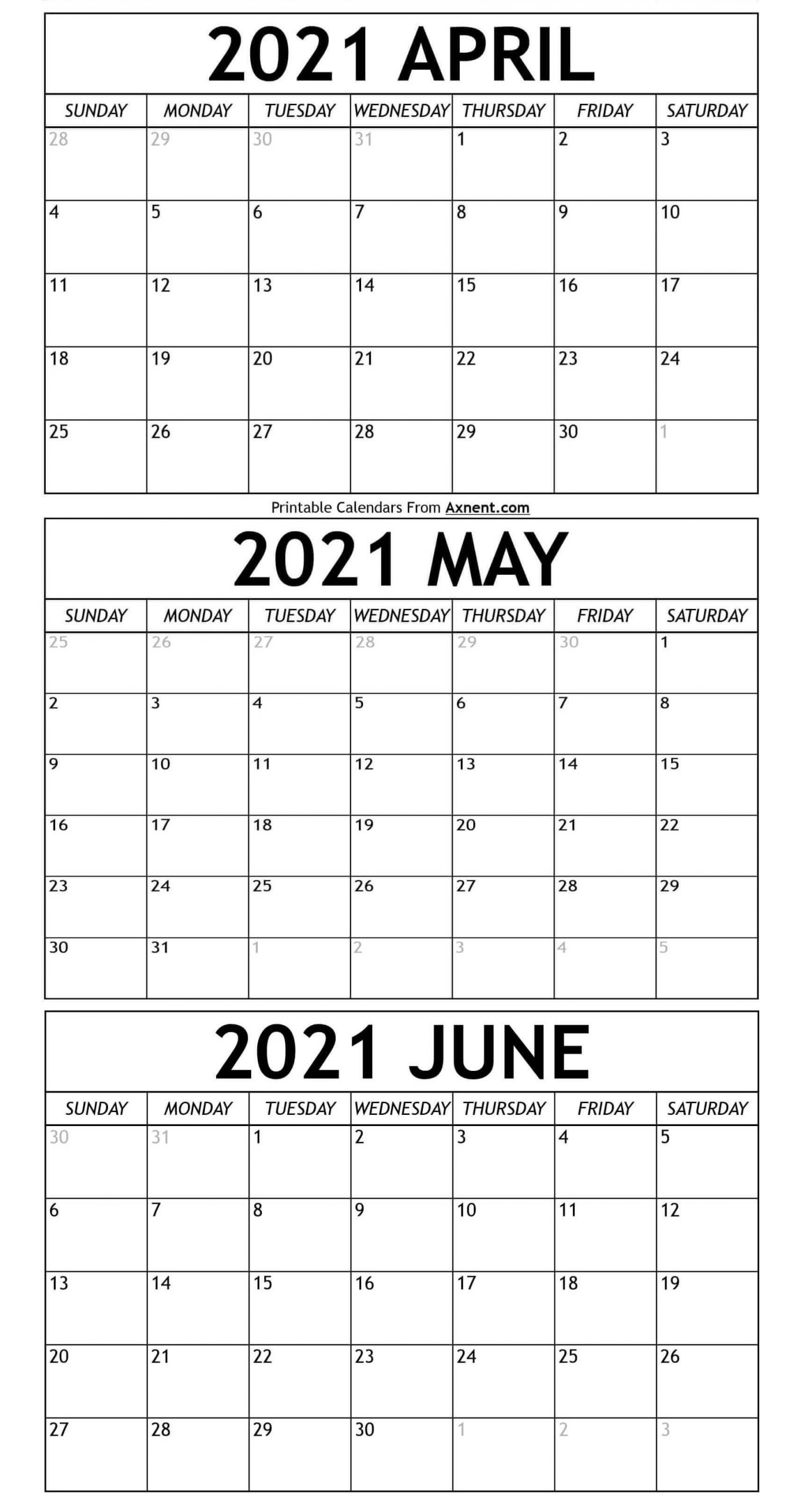 April To June Calendar 2021 Templates - Time Management