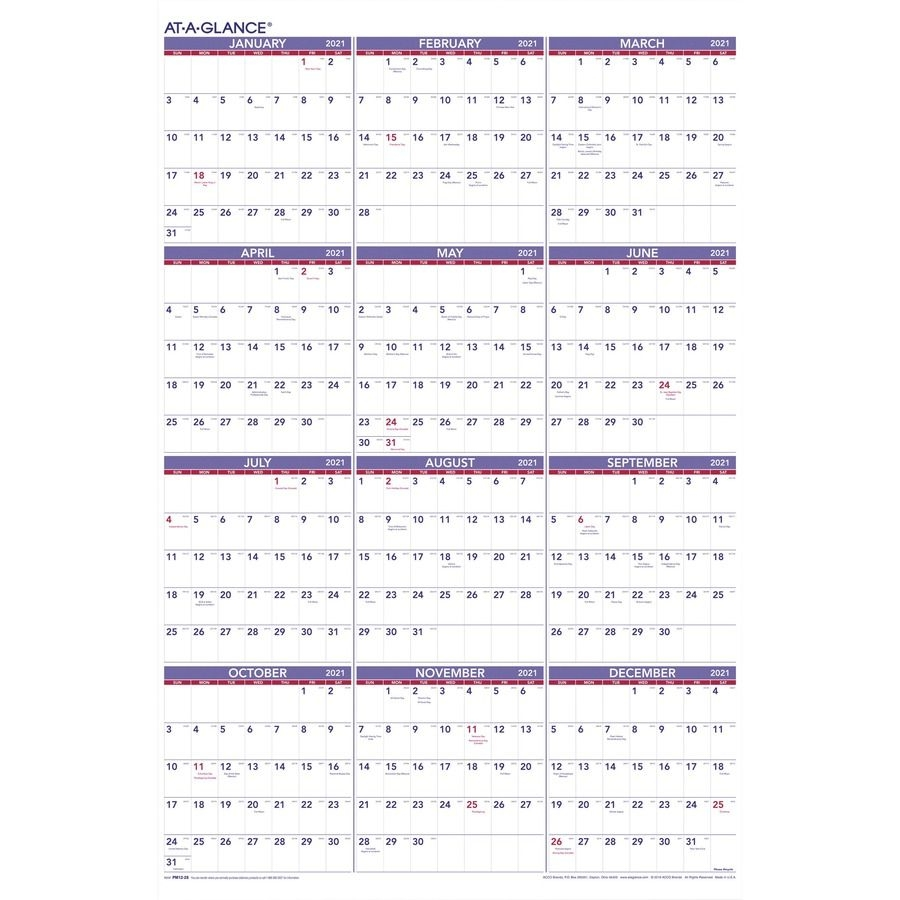 At-A-Glance Yearly Wall Calendar - Julian Dates - Yearly - 1