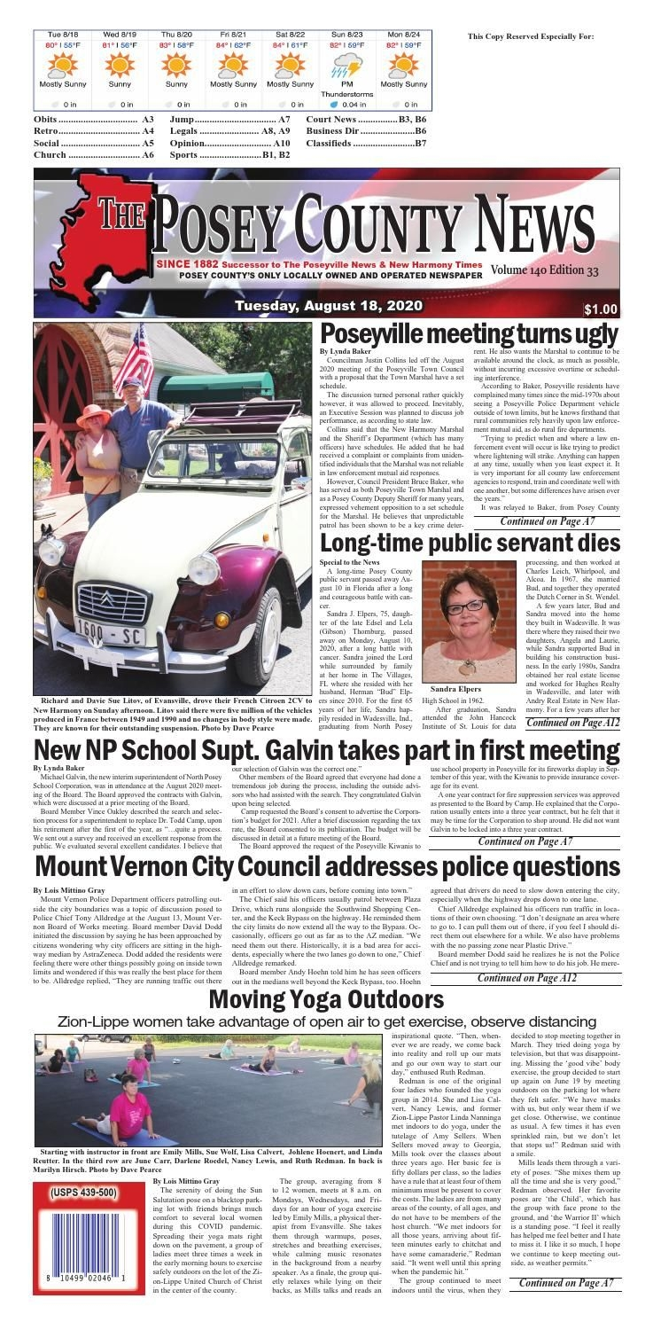 August 18, 2020 - The Posey County News By The Posey County