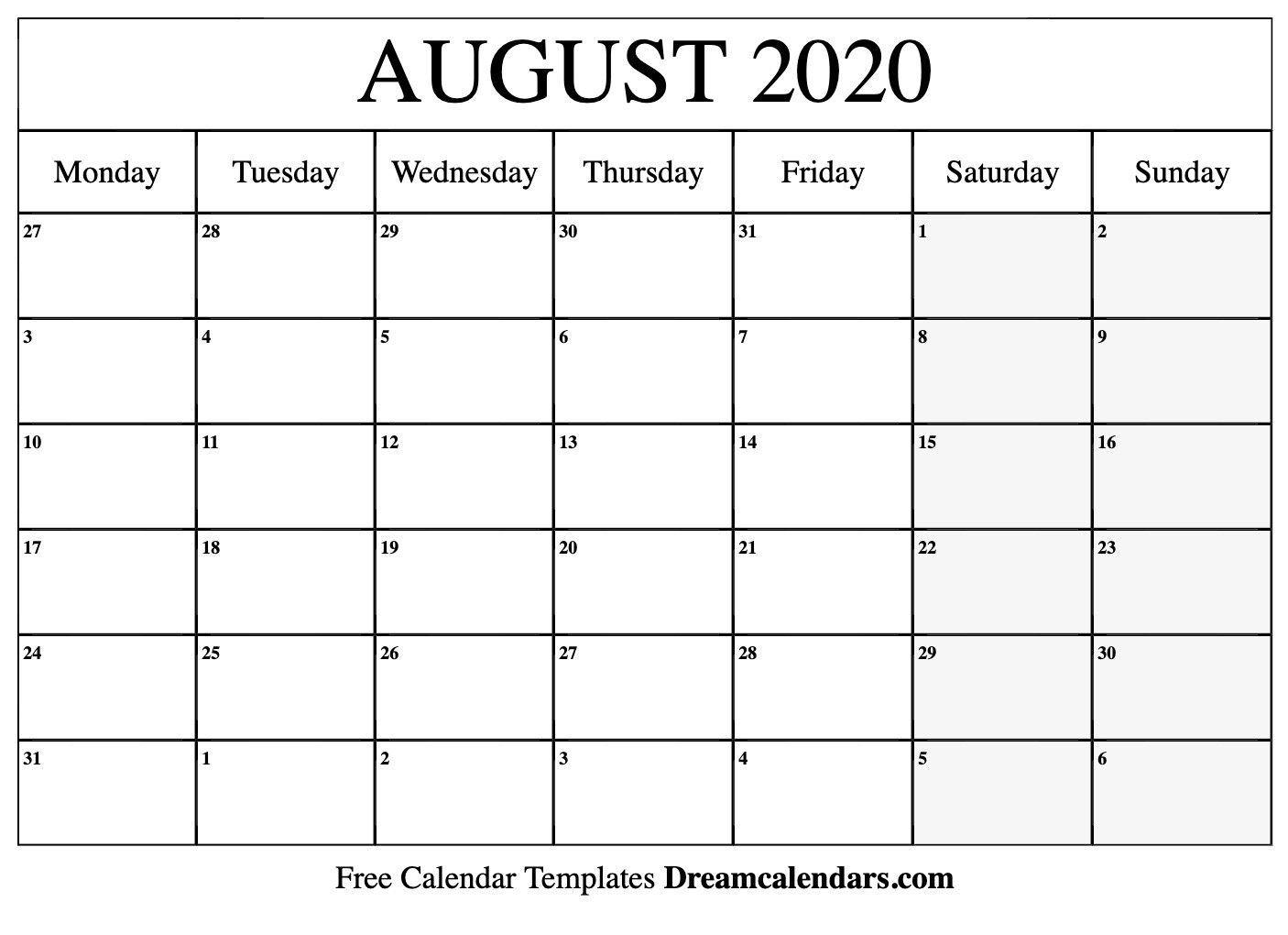 August 2020 Printable Calendar August 2020 Calendar August