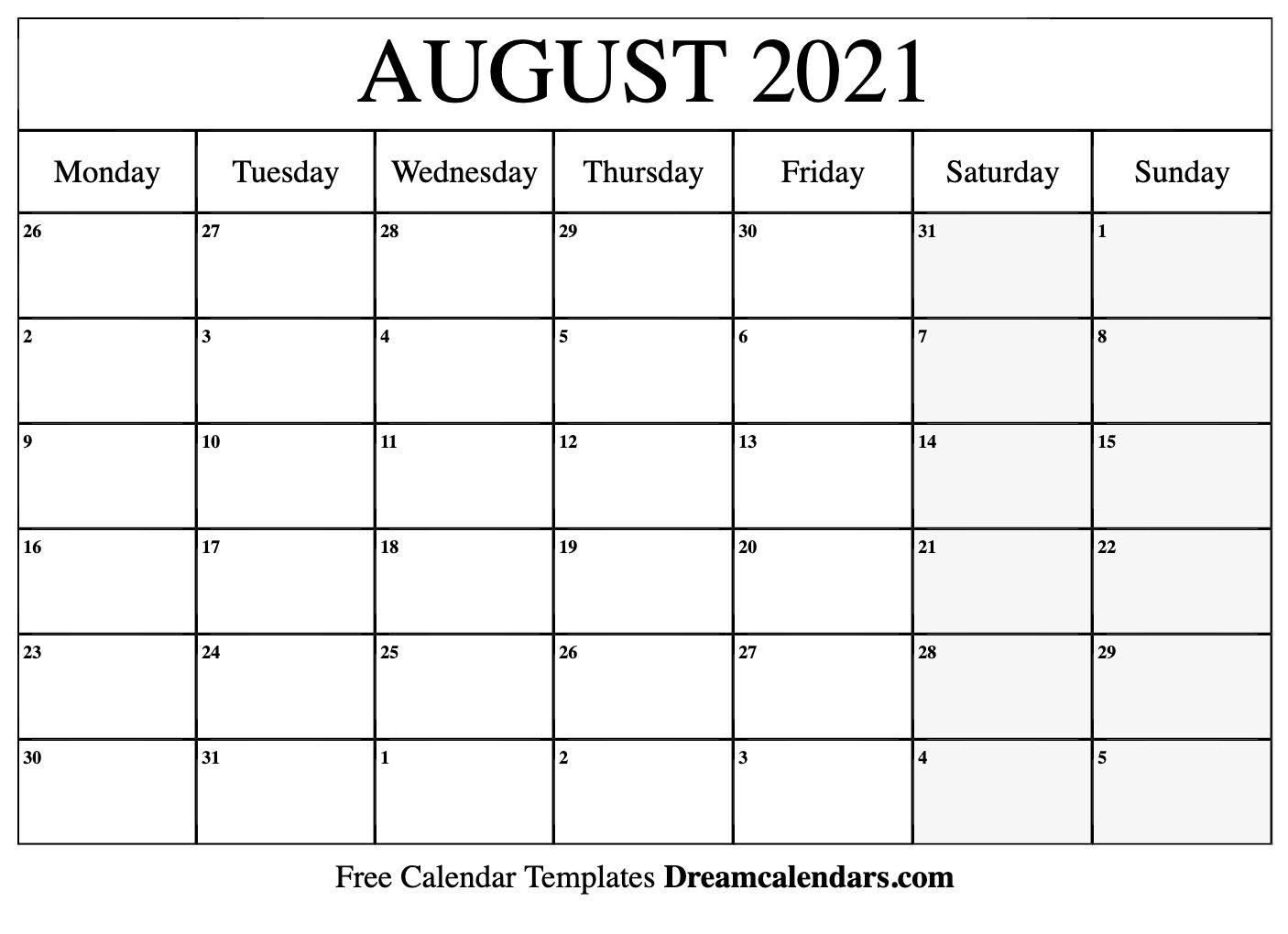 August 2021 Calendar | Free Blank Printable Templates