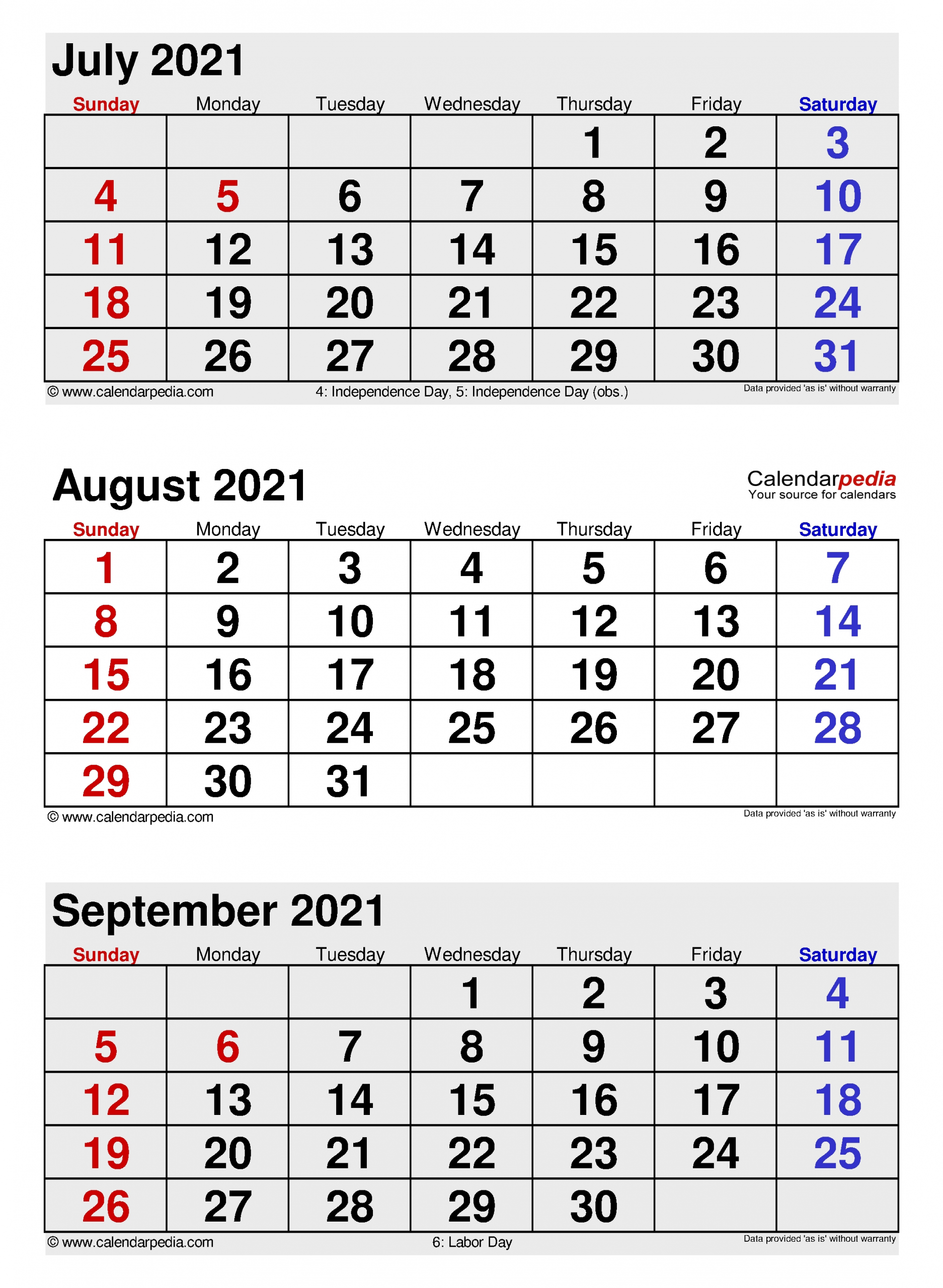 August 2021 Calendar | Templates For Word, Excel And Pdf