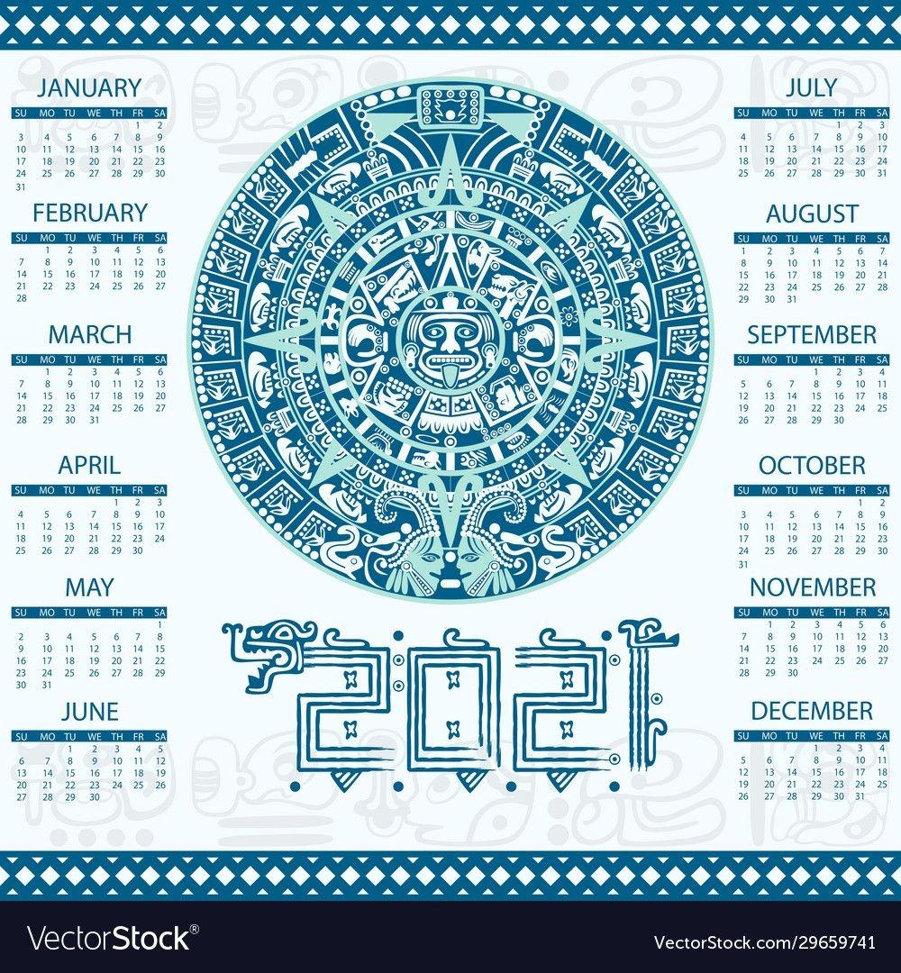 Aztec Calendar 2021 Royalty Free Vector Image - Vectorstock