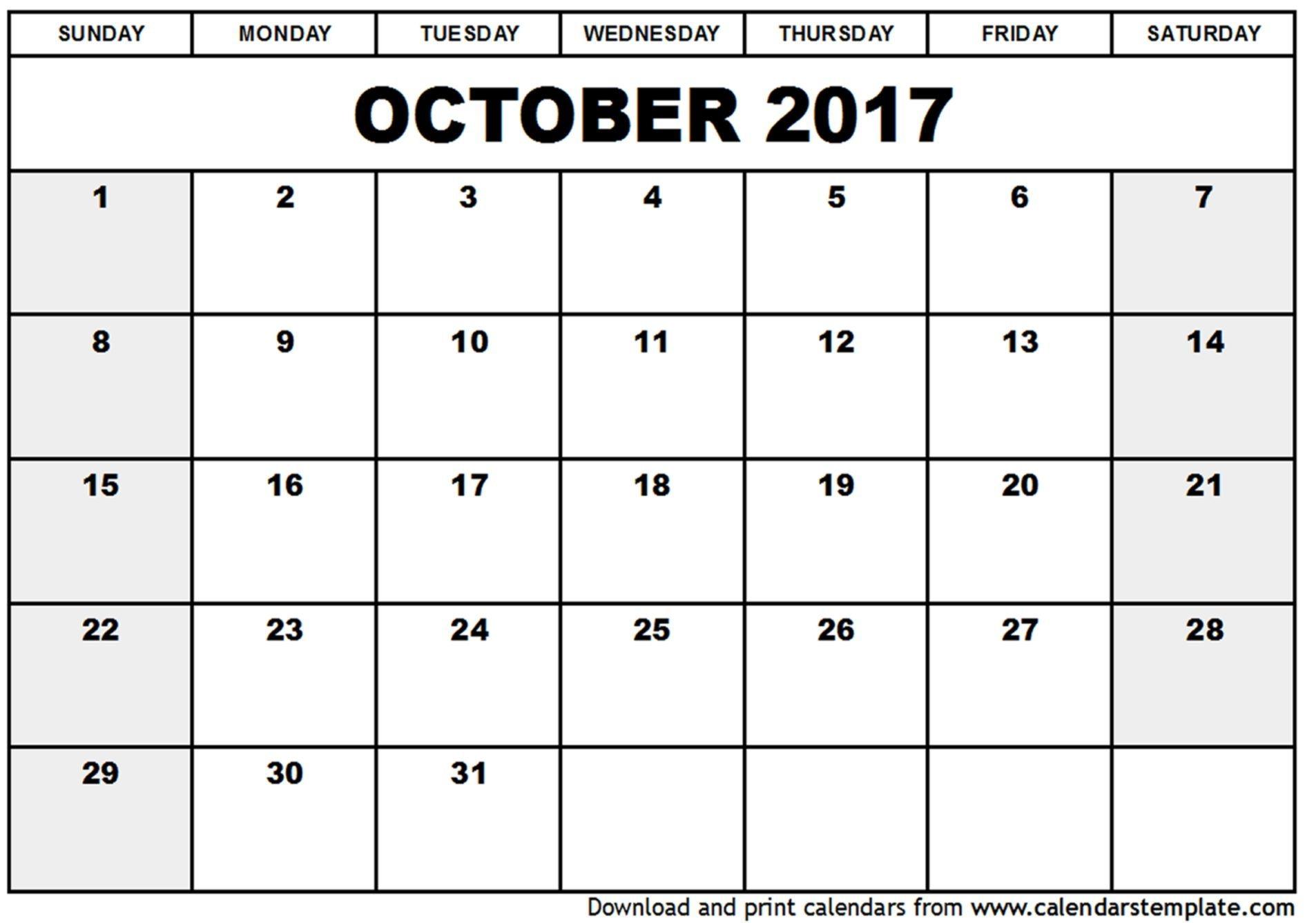 Blank Calendar 2017 October Calendar - Yahoo Image Search