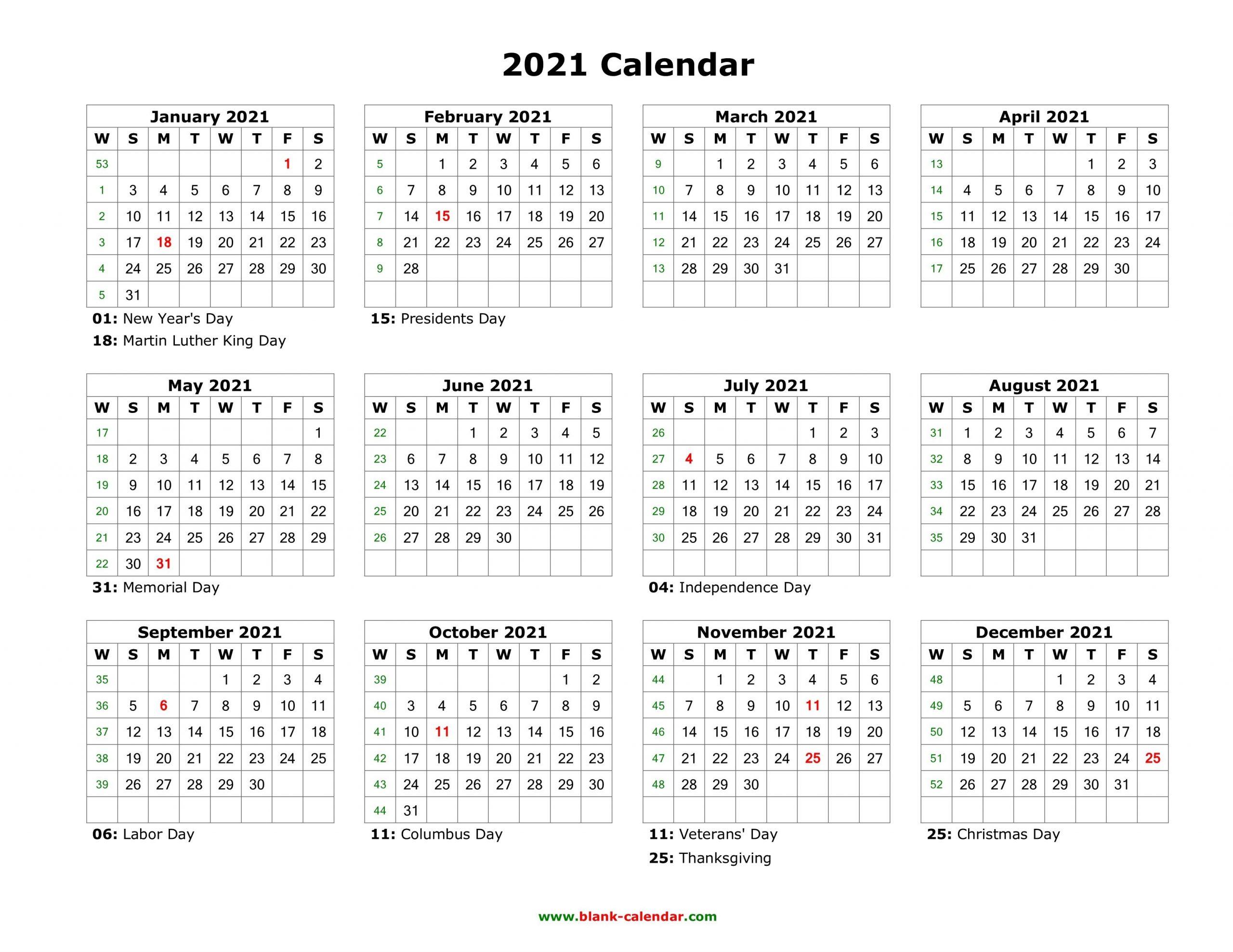 Blank Calendar 2021   Free Download Calendar Templates
