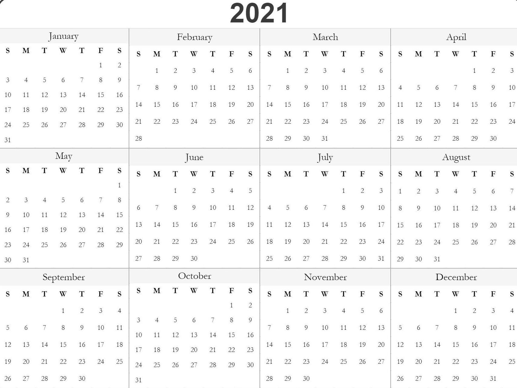 Blank Printable 2021 Calendar Template   Free Printable