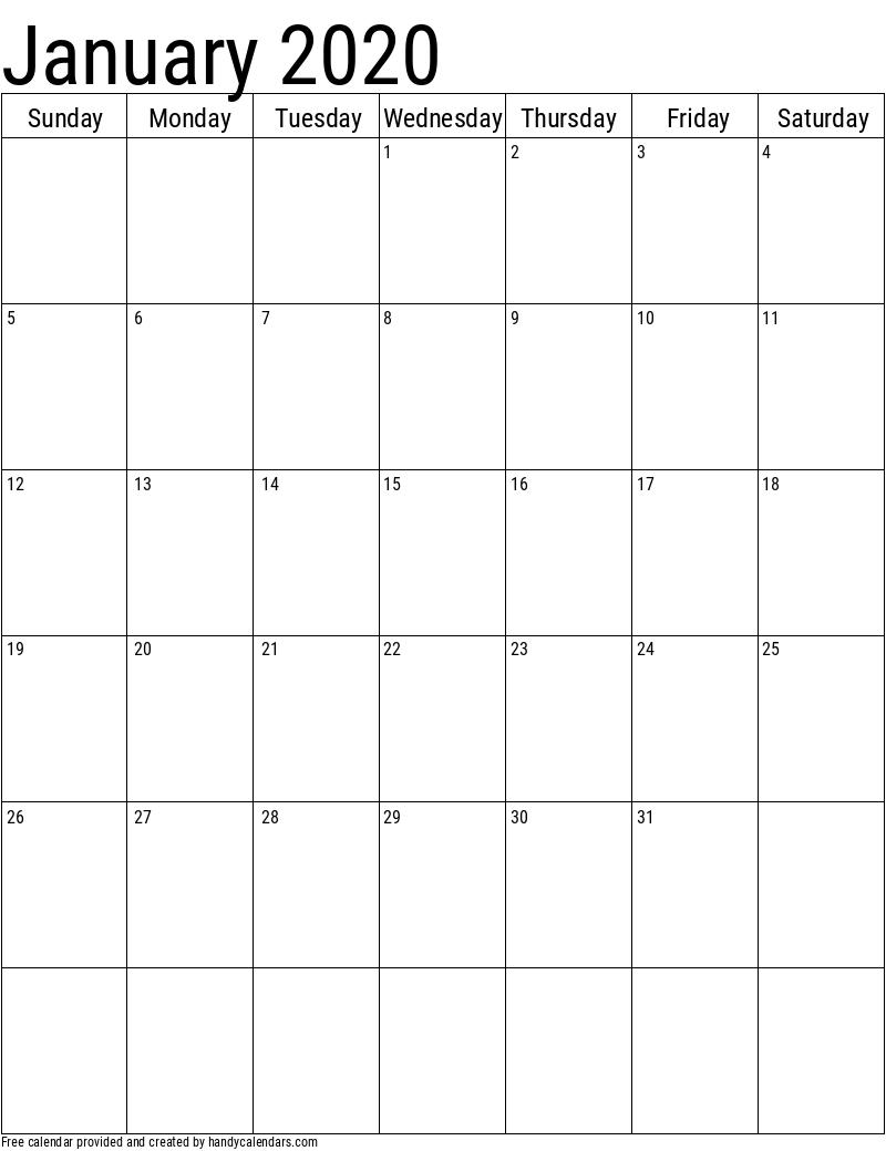 Blank Vertical Calendar In 2020 | Vertical Calendar