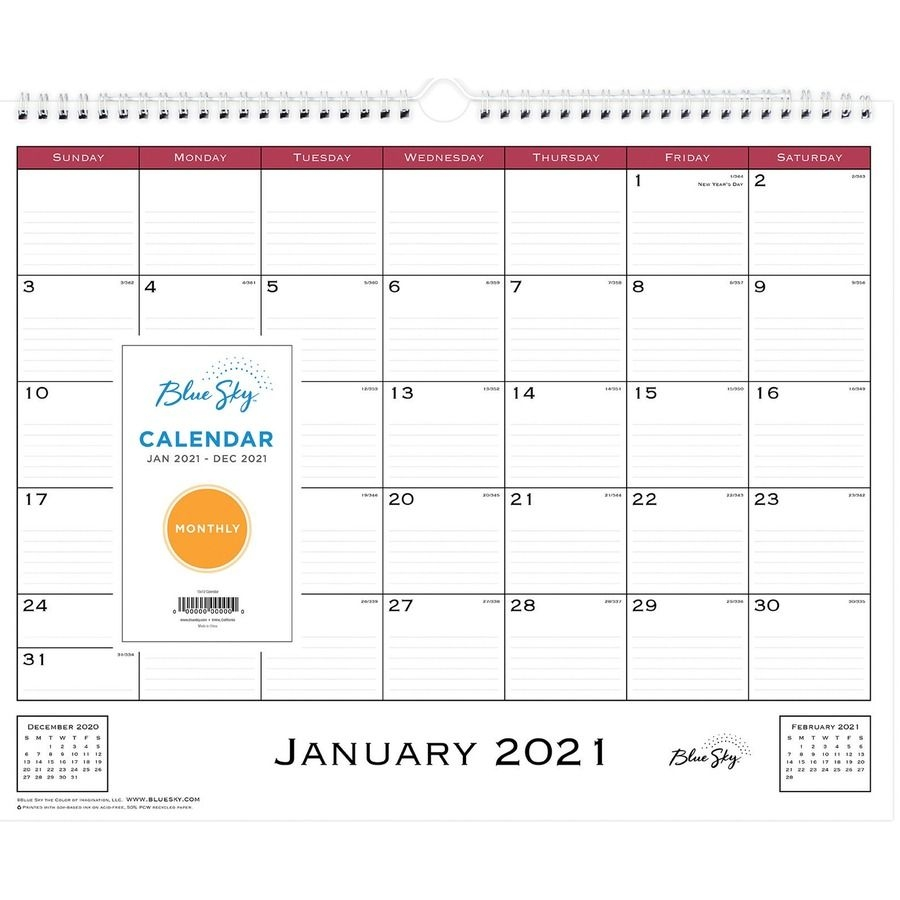 Blue Sky Classic Monthly Wall Calendar - Julian Dates - Monthly - 1 Year -  January 2021 Till December 2021 - Wire Bound - Bleed Resistant Paper, Notes