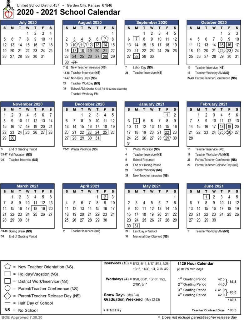 Board Of Education Approves Updated 2020-2021 Calendar