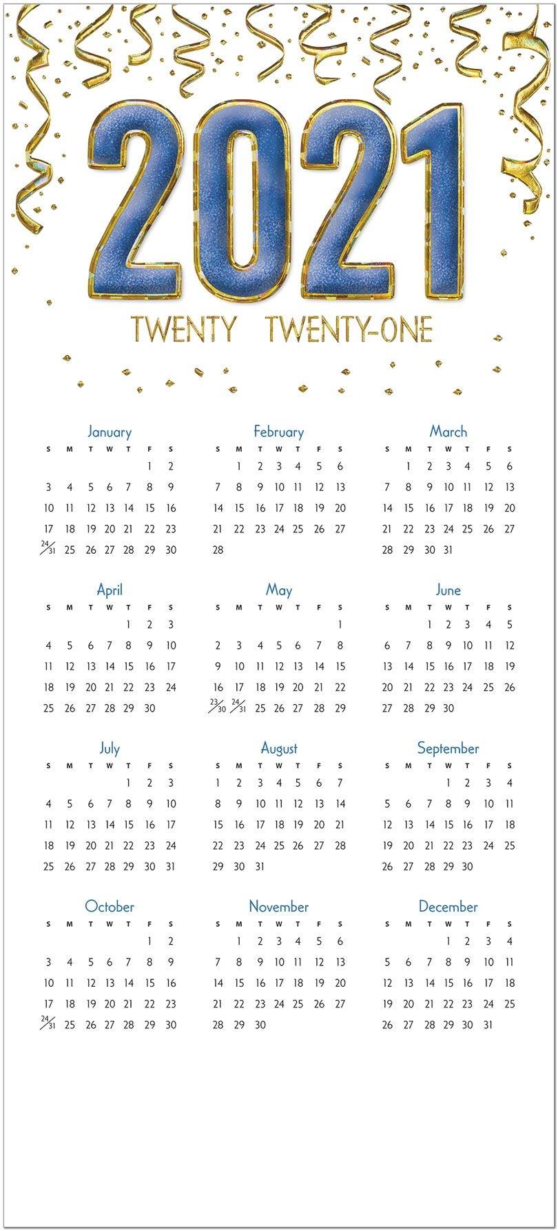 C1505U-Aaa Sparkling 2021 Foil Calendar Card