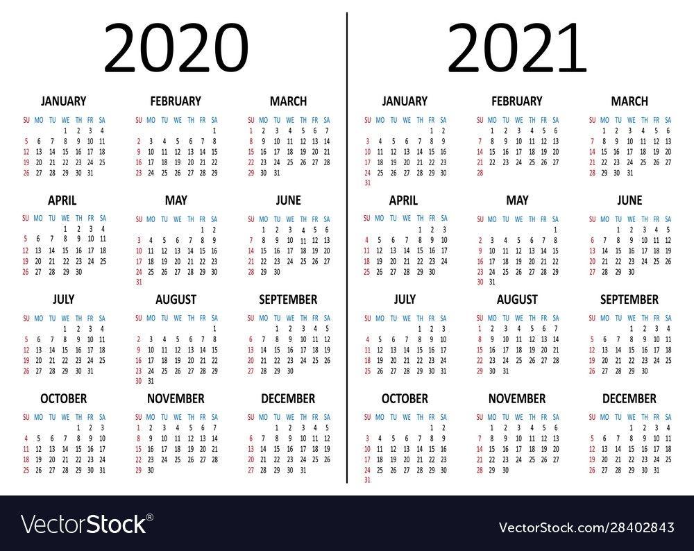Calendar 2020 2021 Week Starts From Sunday Vector Image