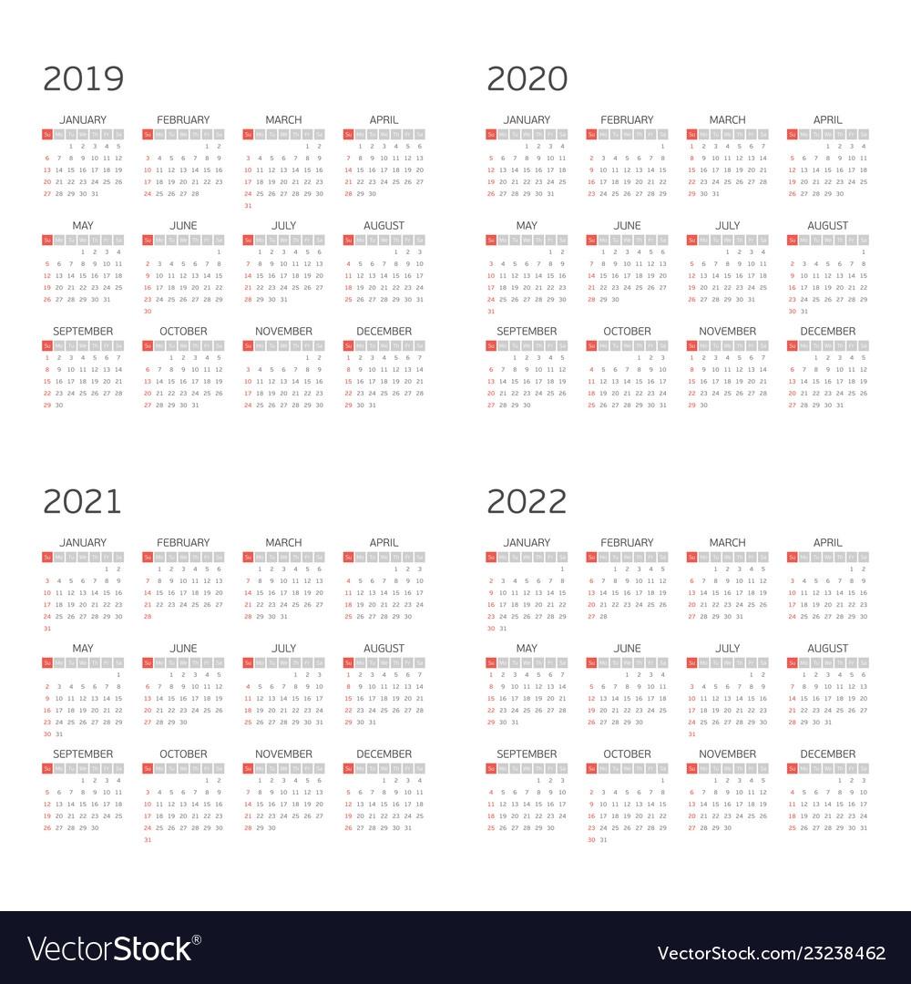 Calendar 2020 To 2022 | Calendar Template Printable | Vector