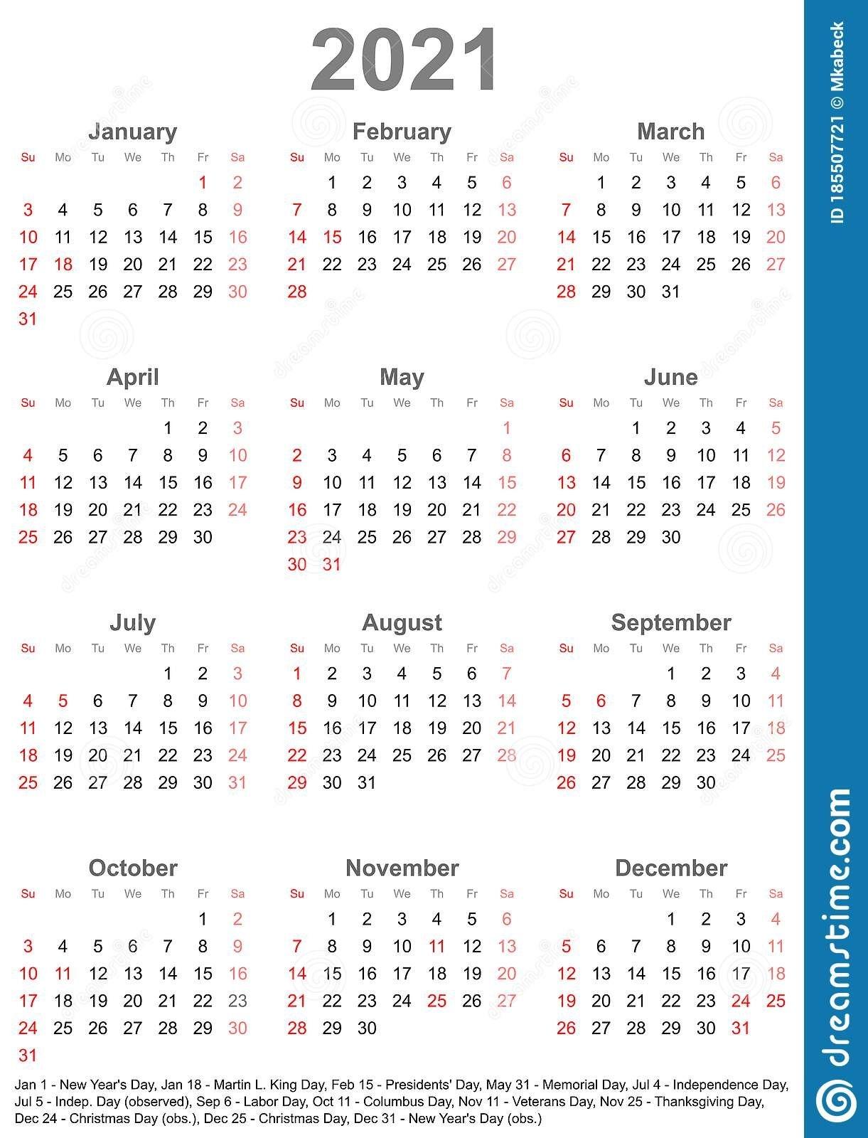 Calendar 2021 For Usa - Week Starts On Sunday Stock