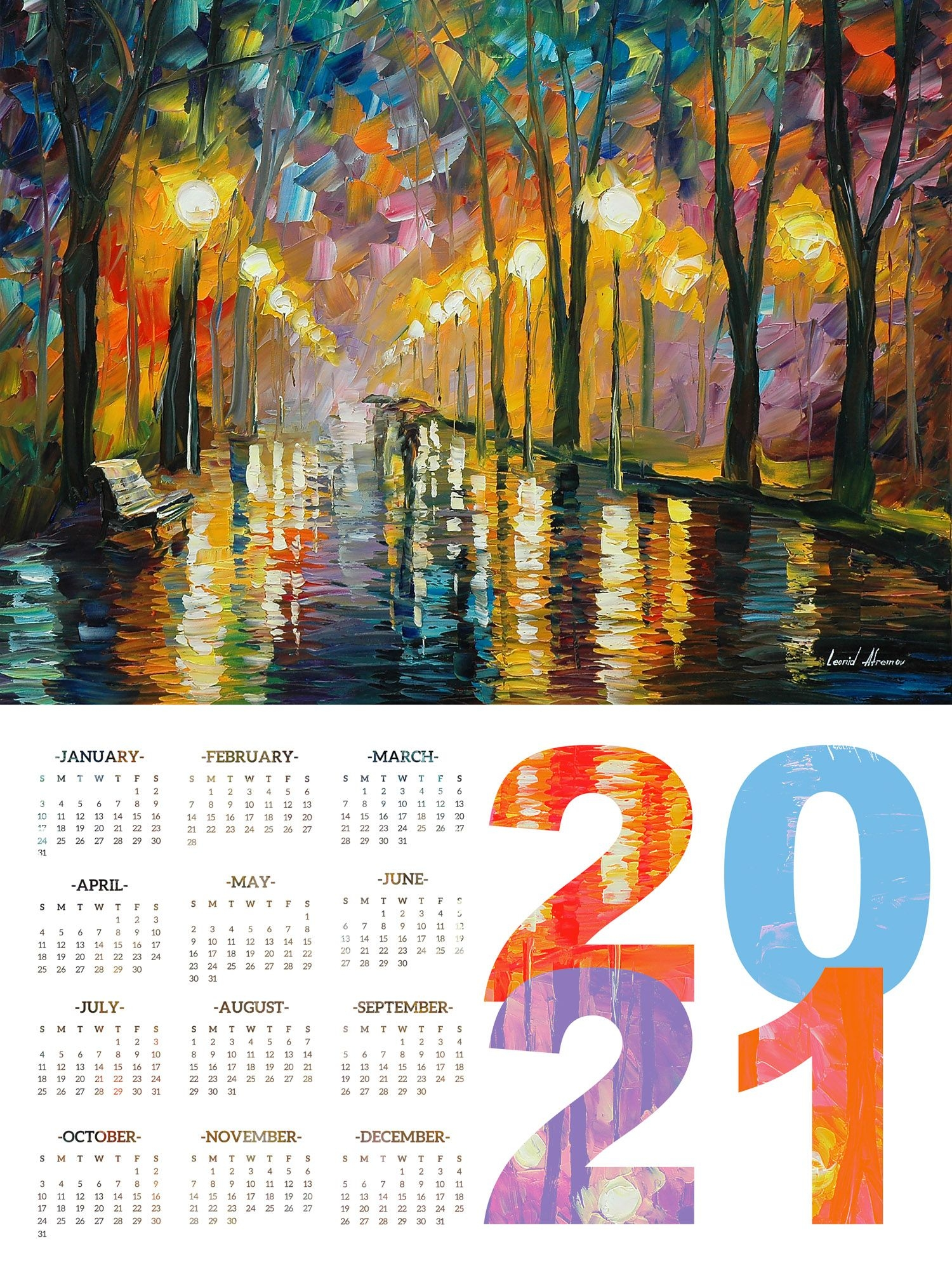 Calendar 2021 - Print On High Quality Artistic Canvas