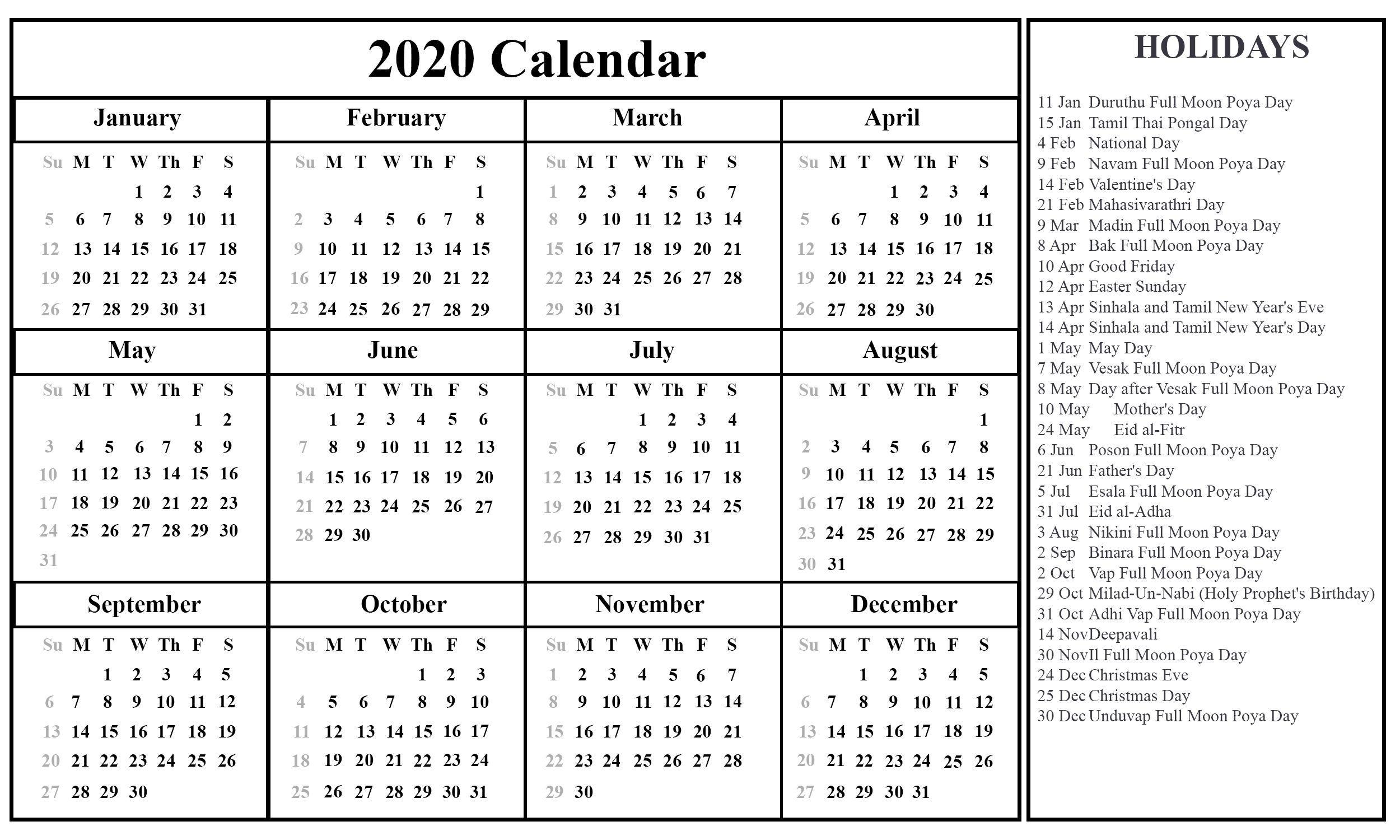 Calendar 2021 Sri Lanka Holidays In 2020   Printable