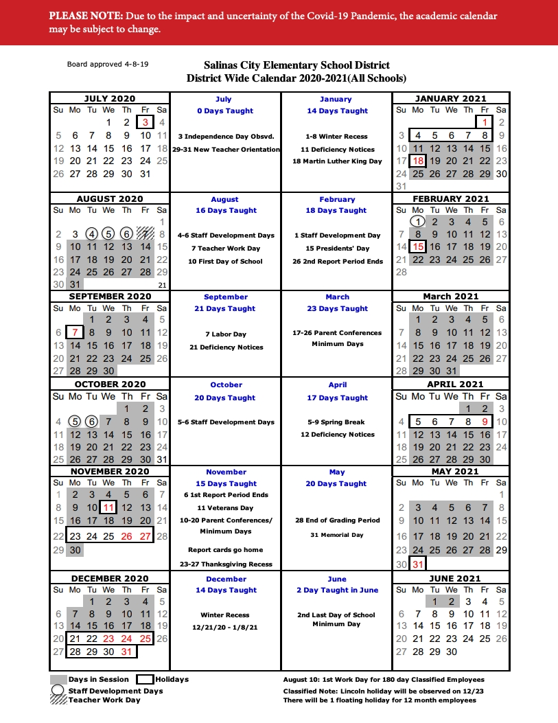 Calendar & Events — Salinas City Elementary School District