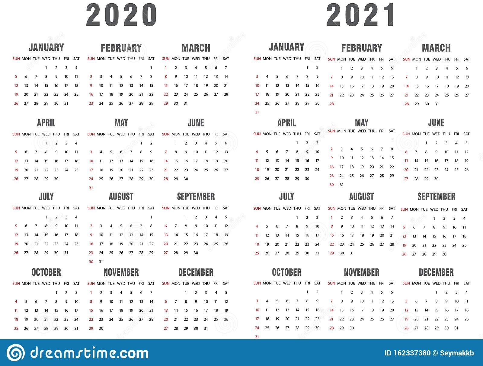 Calendar Gray And White For 2020-2021 Stock Vector