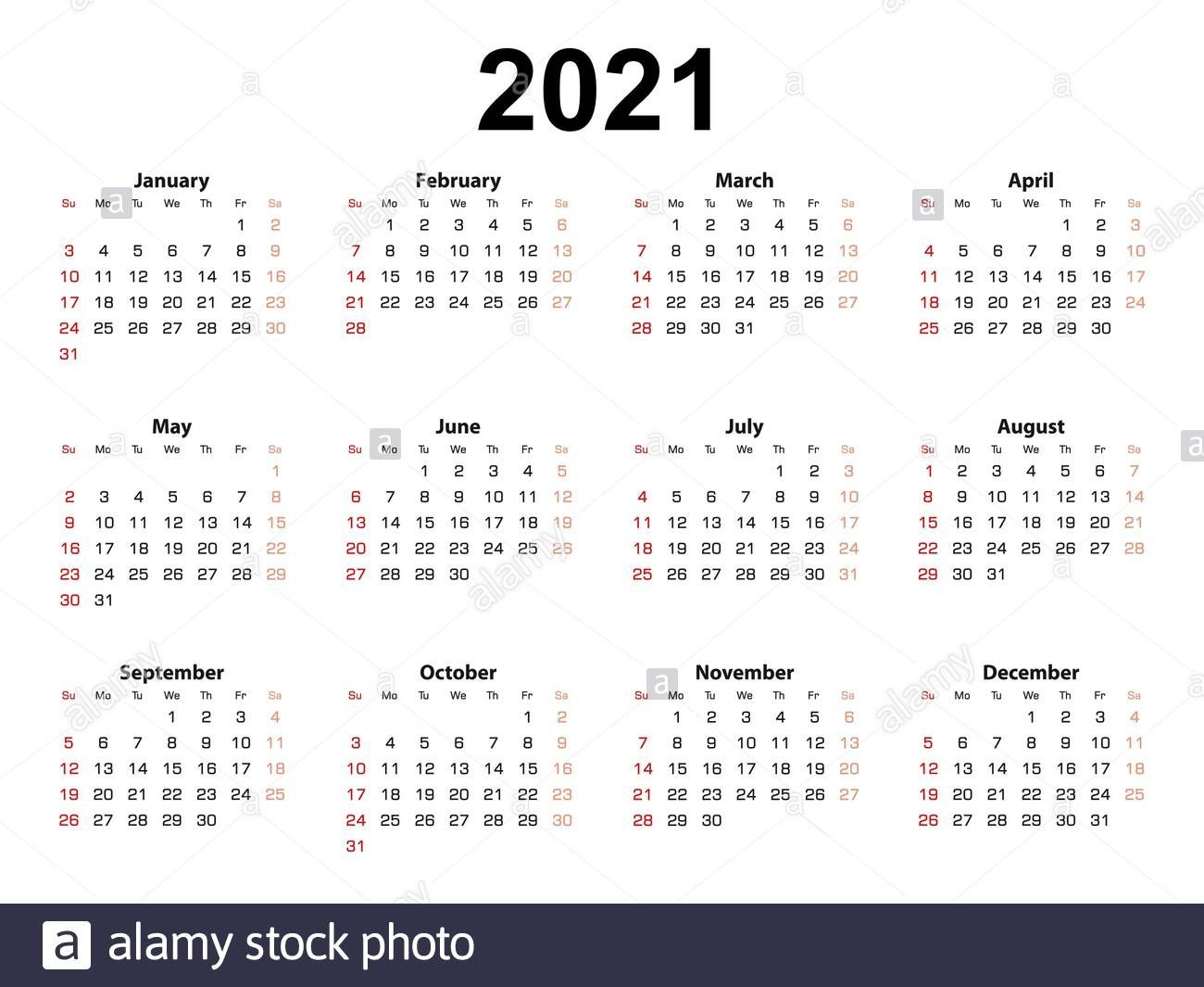 Calendar Layout For 2021 Year, Week Starts From Sunday