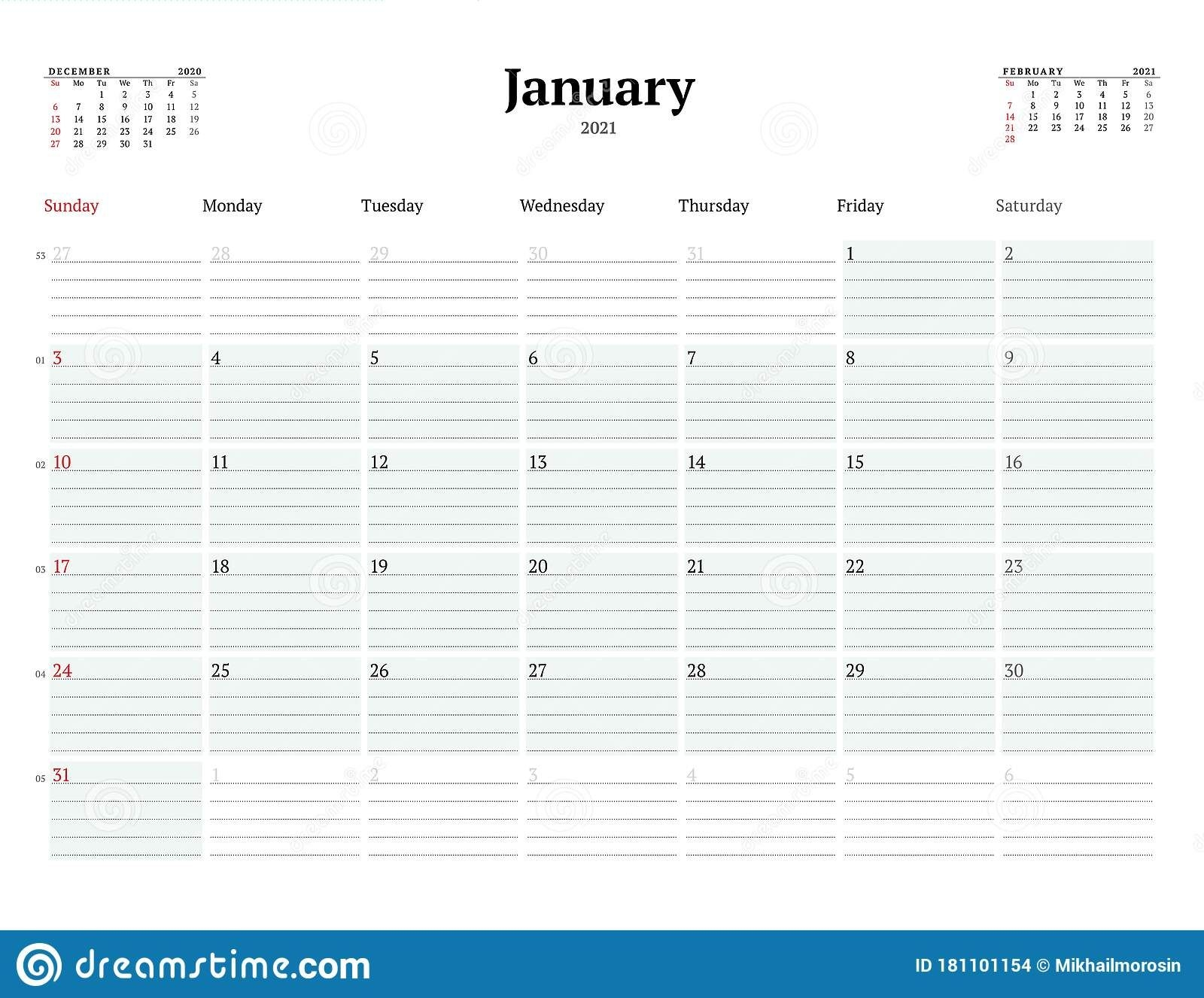 Calendar Template For January 2021. Business Monthly Planner