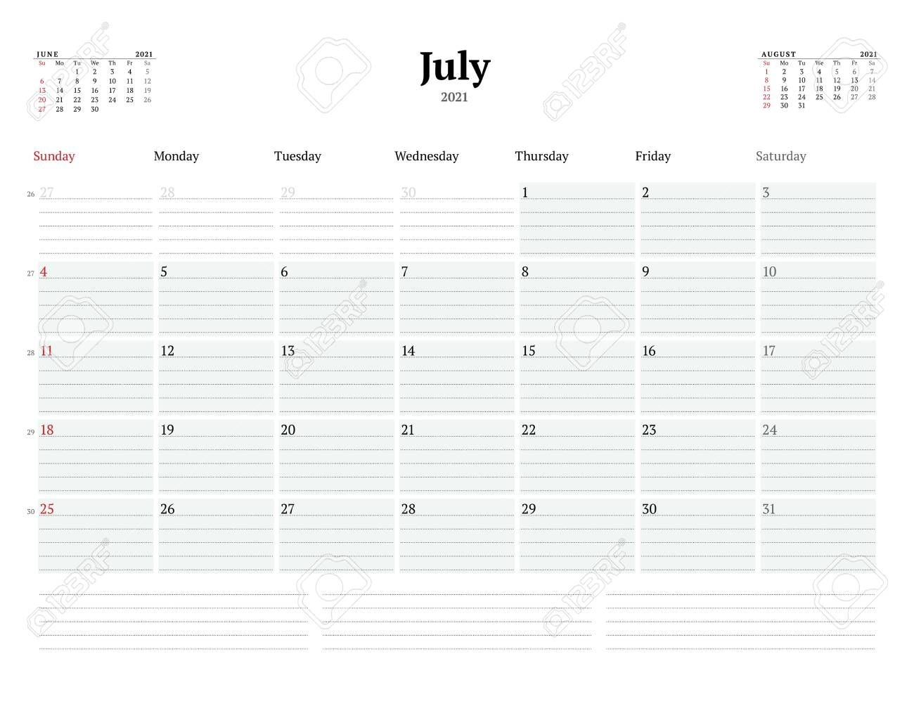 Calendar Template For July 2021. Business Monthly Planner With..