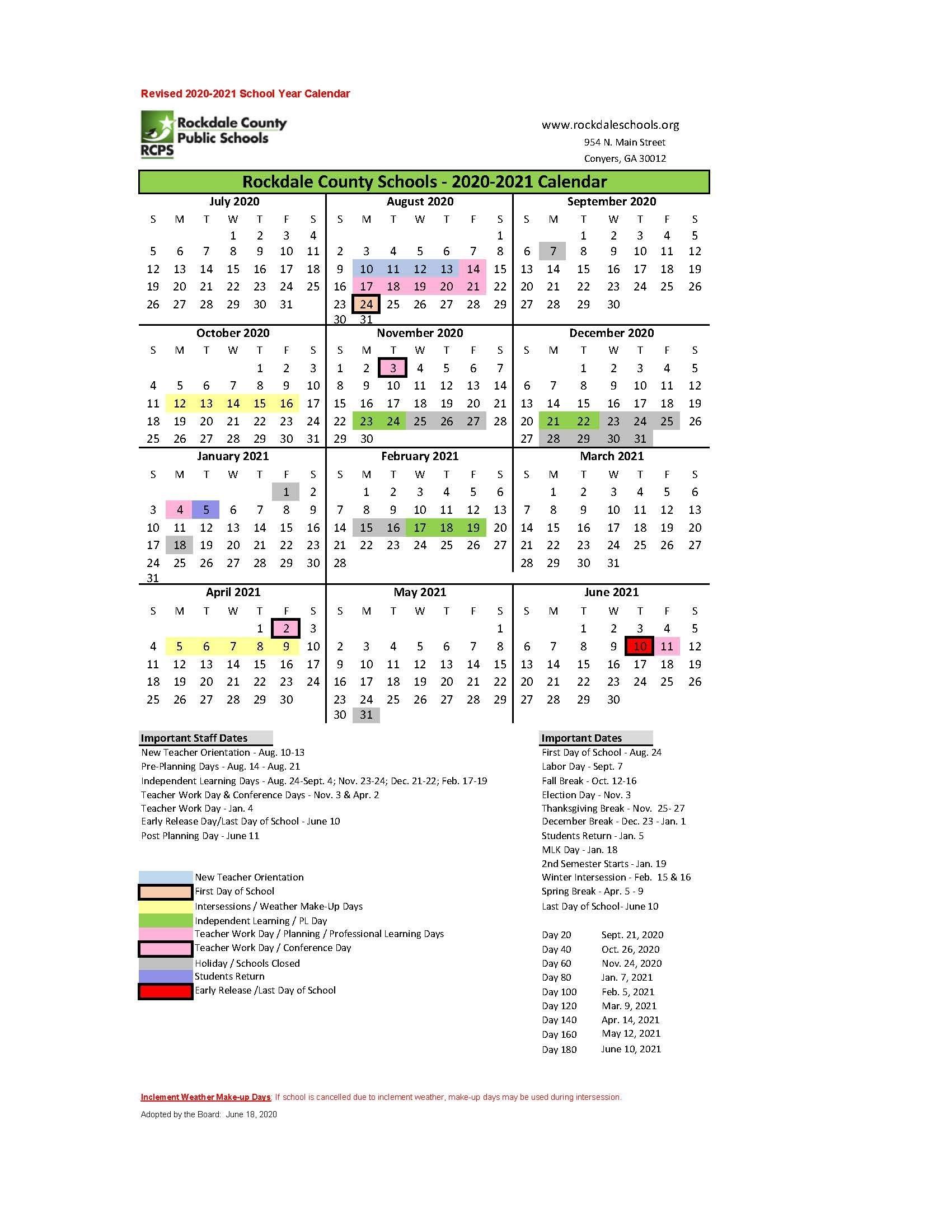 Calendars - Rockdale County Public Schools