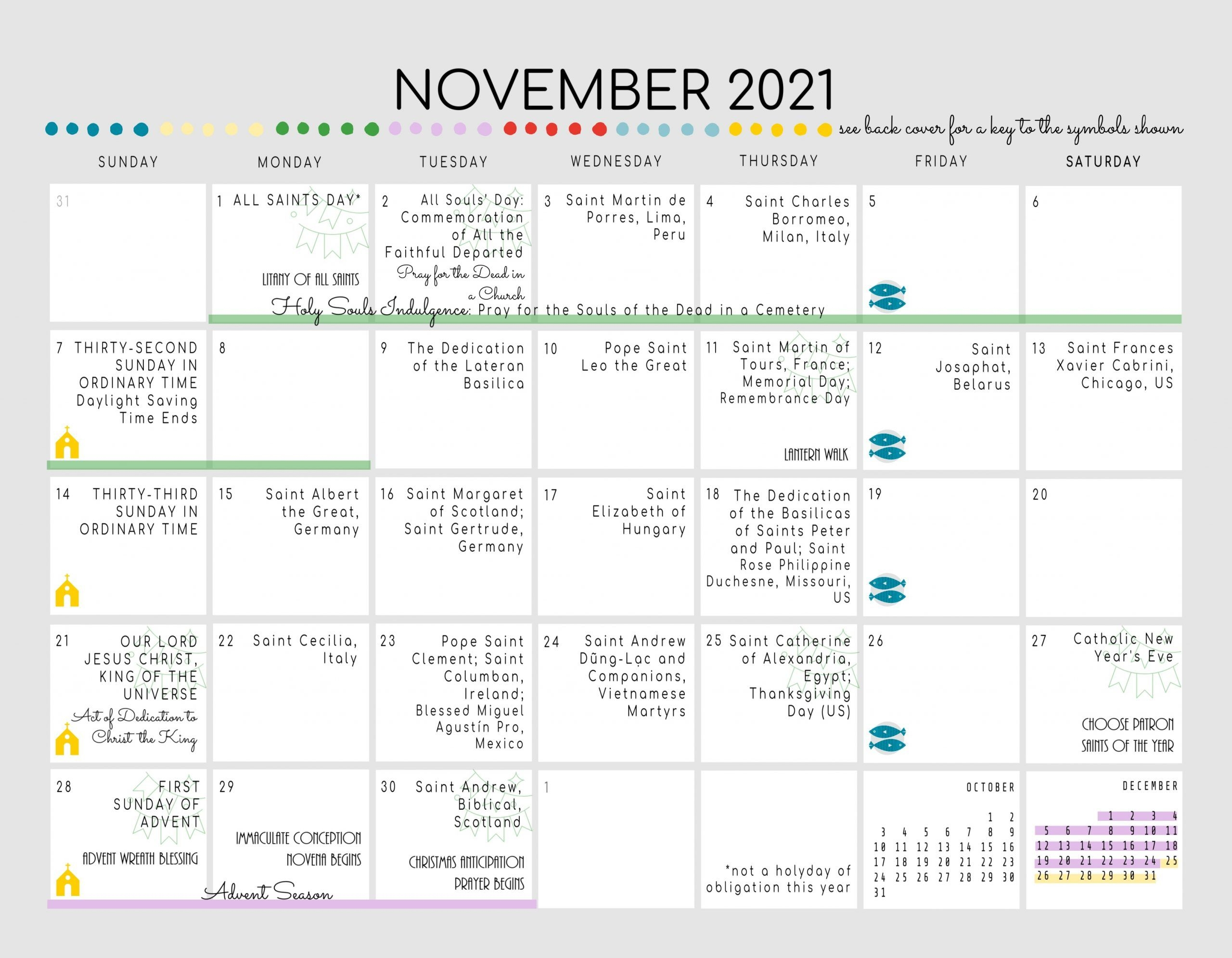 Catholic All Year 2021 Liturgical Calendar With Prayer Art *Digital  Download*