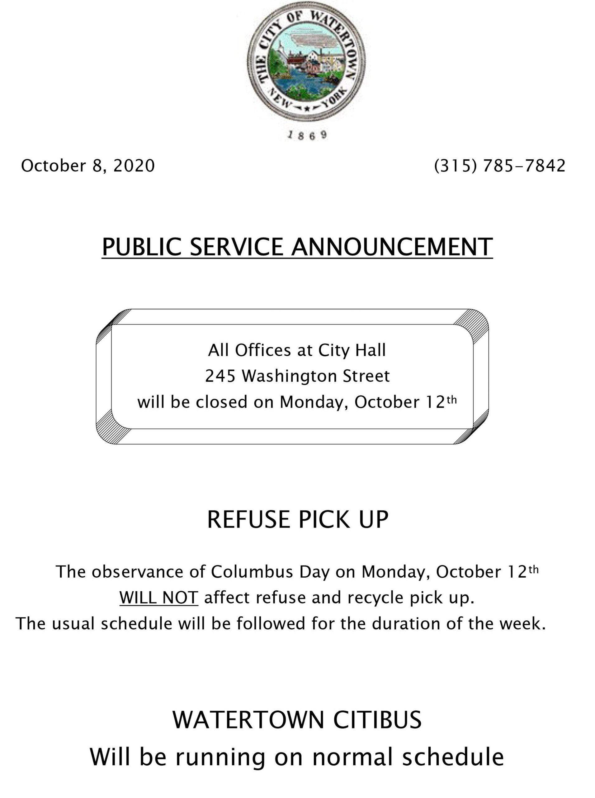 City Of Watertown Columbus Day 2020 Schedule | Newzjunky