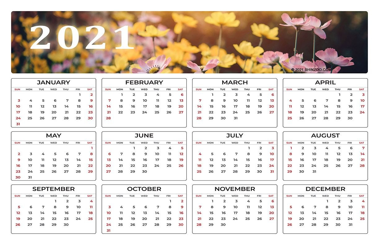Colorful Spring Flowers: 2021 Calendar 11X17 Printable Template